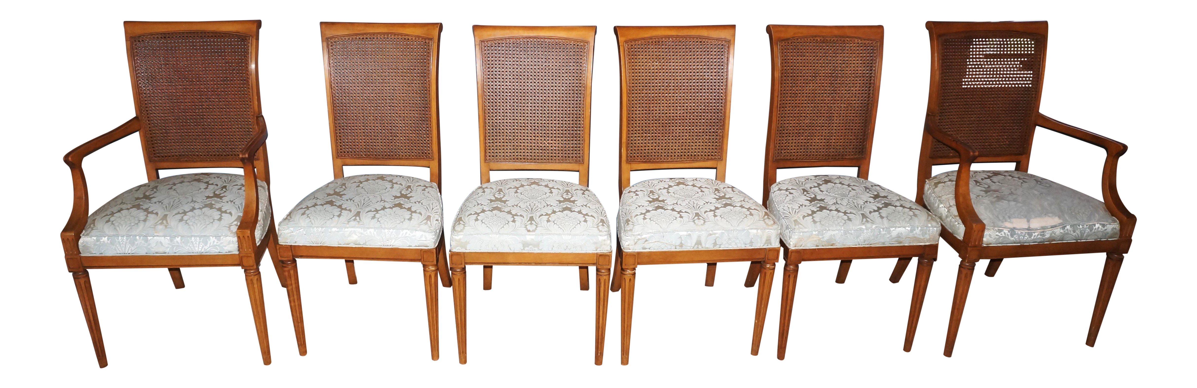 Kindel Mid Century Cane Back Chairs Set of 6