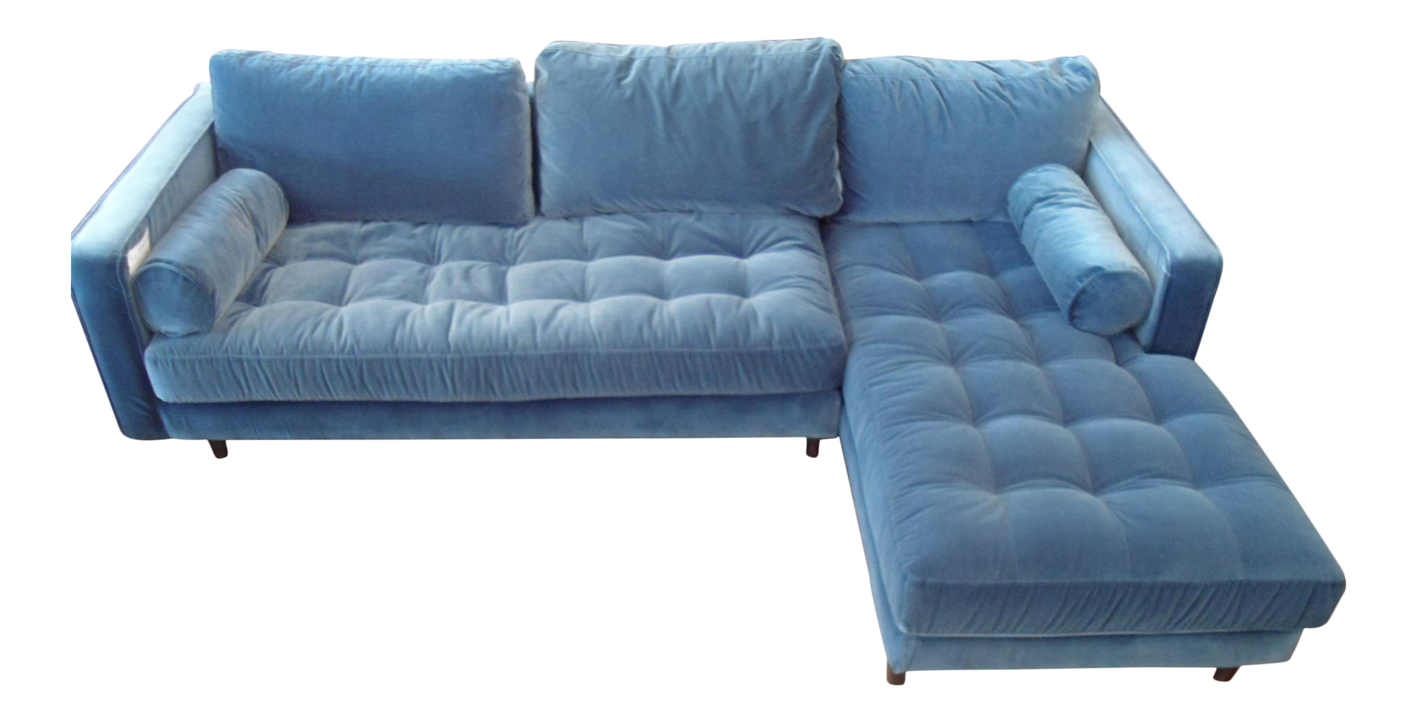 Pacific Blue Velvet Sectional Sofa Chairish