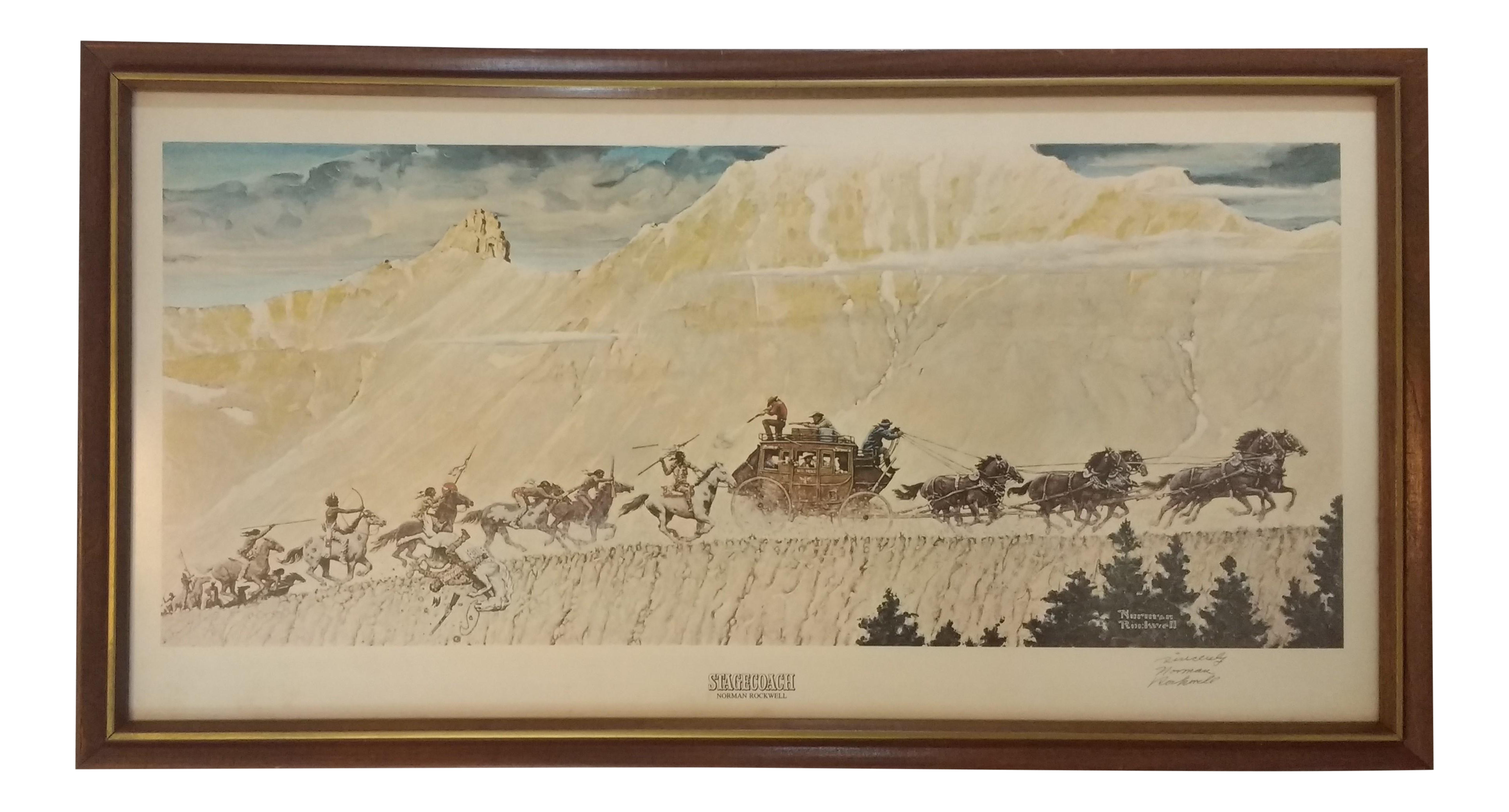 1966 Norman Rockwell Stagecoach Signed Print Chairish