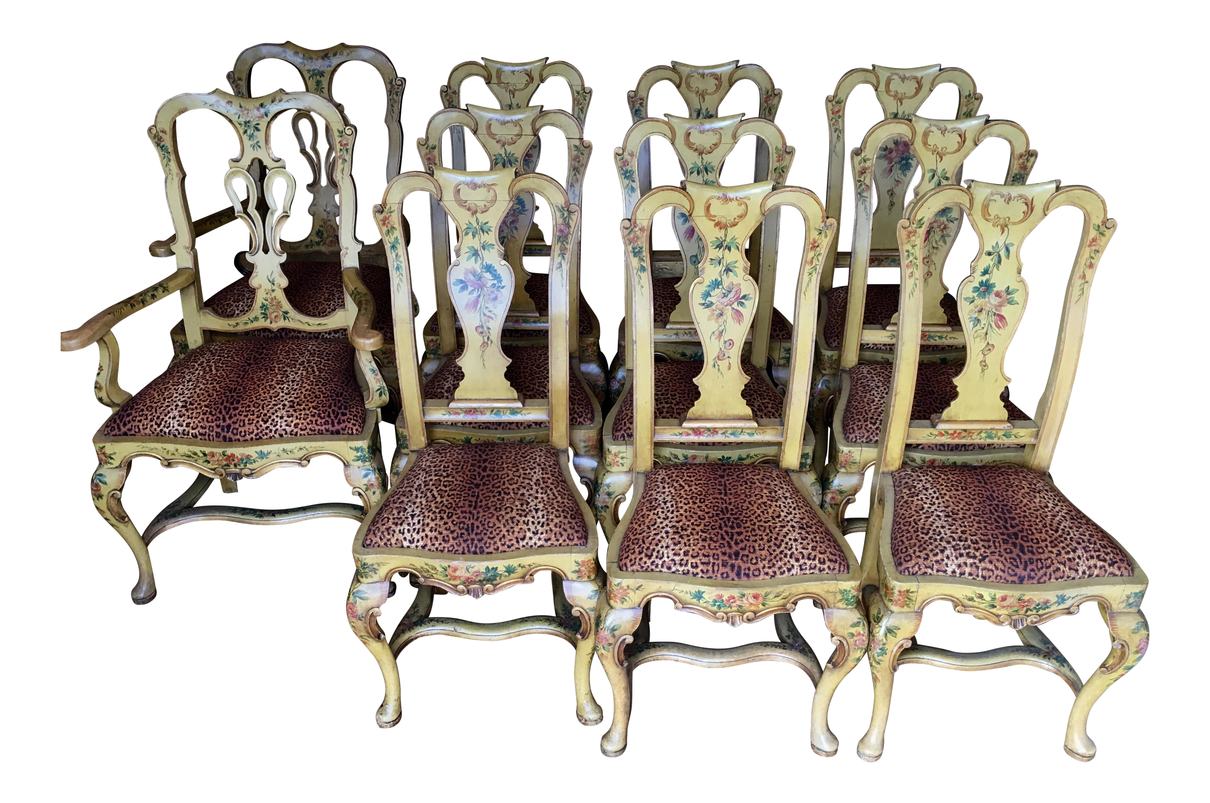 Antique italian chairs - Image Of Antique Italian Painted Dining Chairs Set Of 8