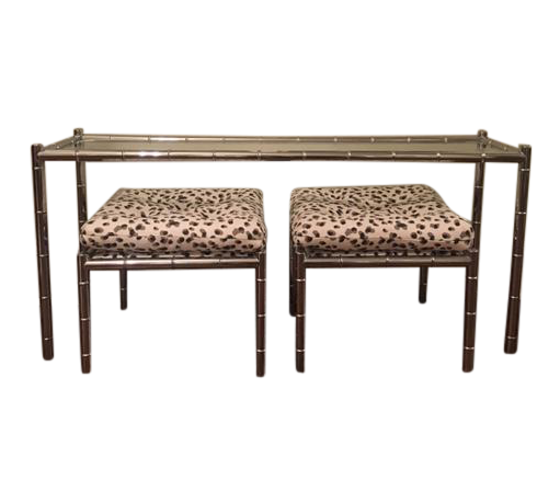 Mid-Century Chrome Bamboo Console With Stools