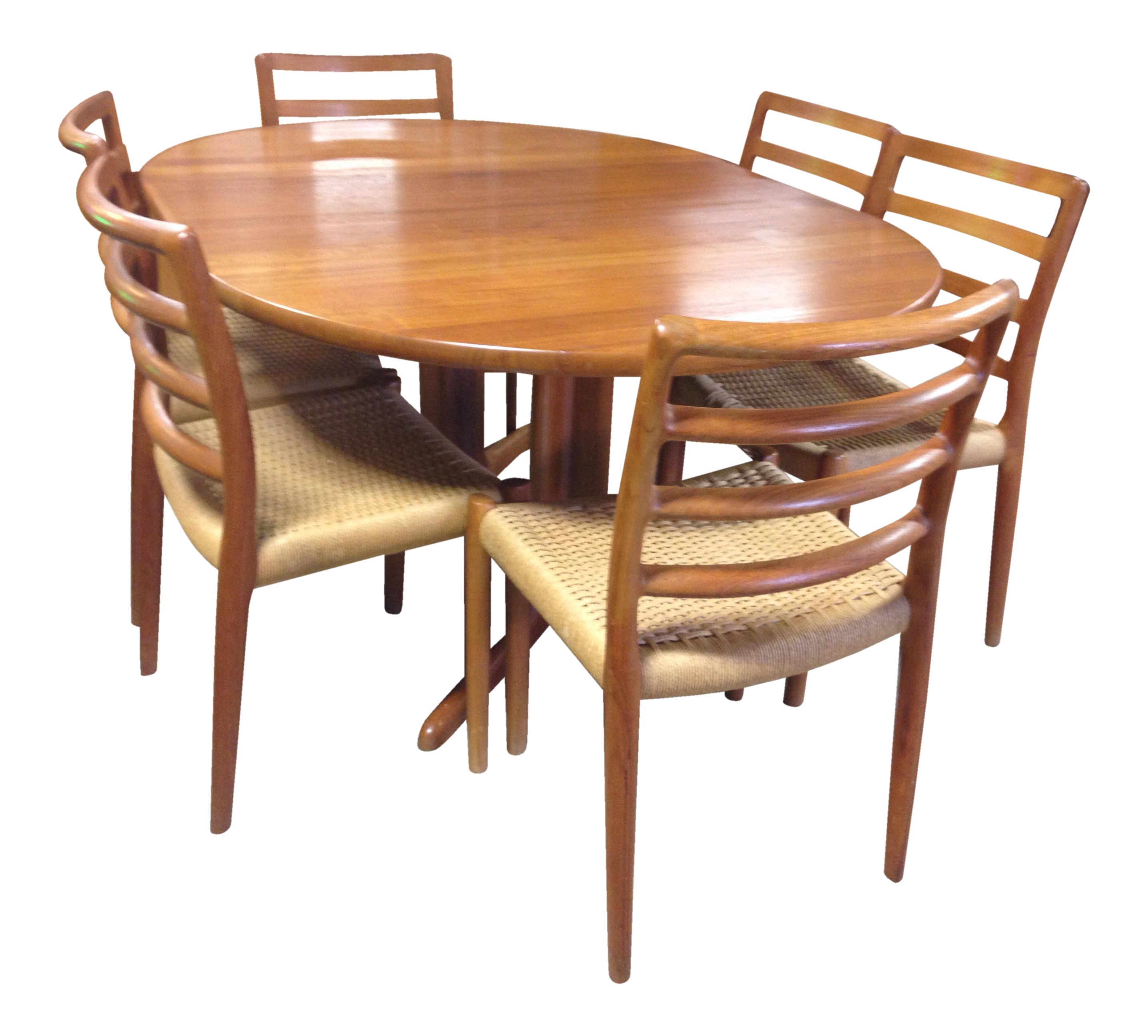 dining table and chair sets chairs for kitchen table Danish Teak Dining Table 6 Ladder Back Chairs