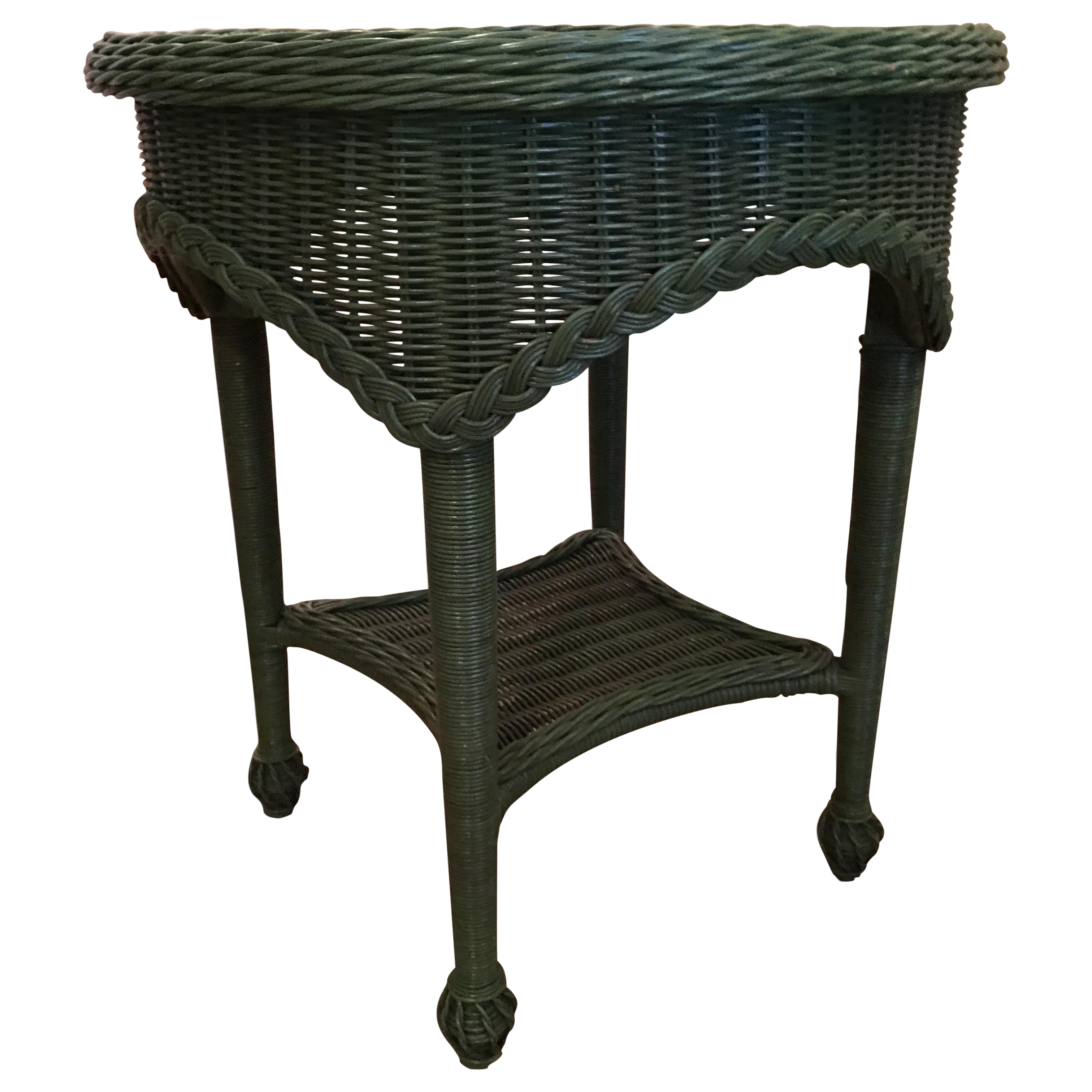New Green Wicker Round Side Table Showroom Sample Mainly