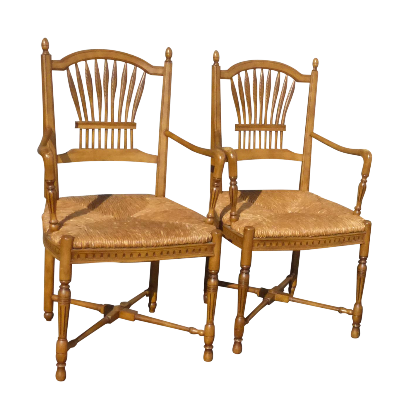 Rush Seat French Country Armchairs - A Pair | Chairish