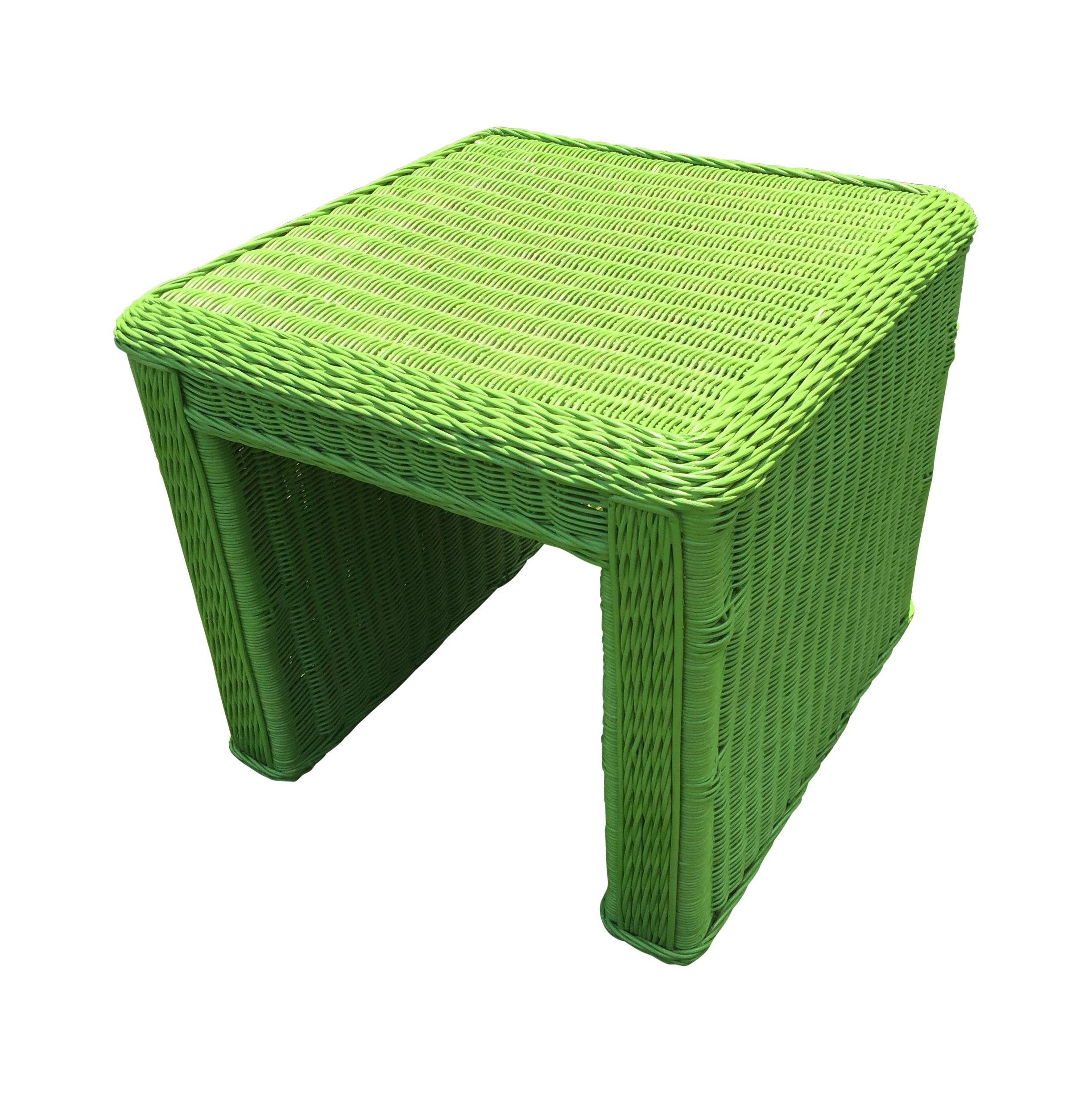 Lime Green Indoor Outdoor Wicker End Table Chairish
