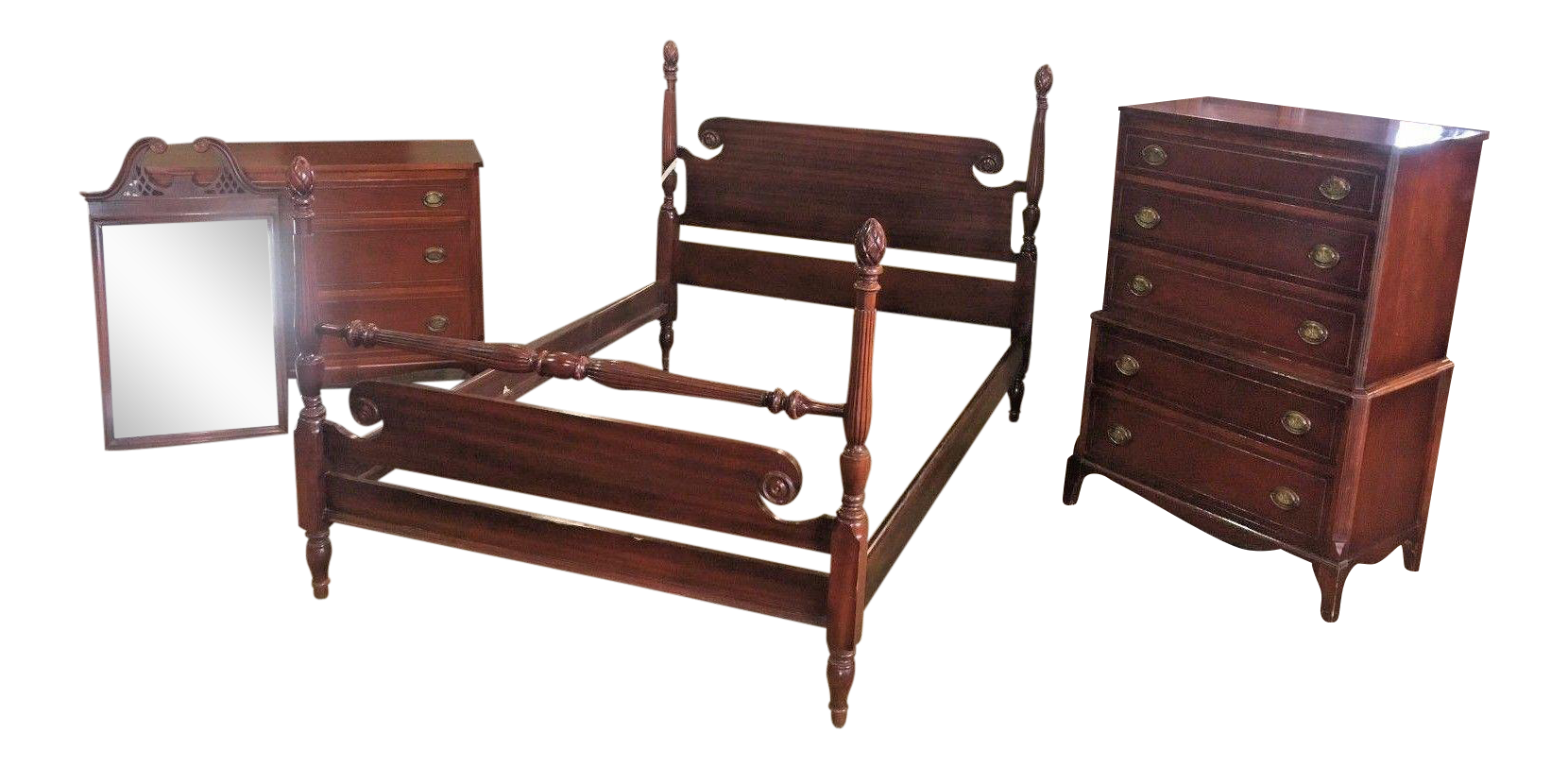 Pineapple Bedroom Furniture Antique Chippendale Style Mahogany Pineapple Post Bedroom Set