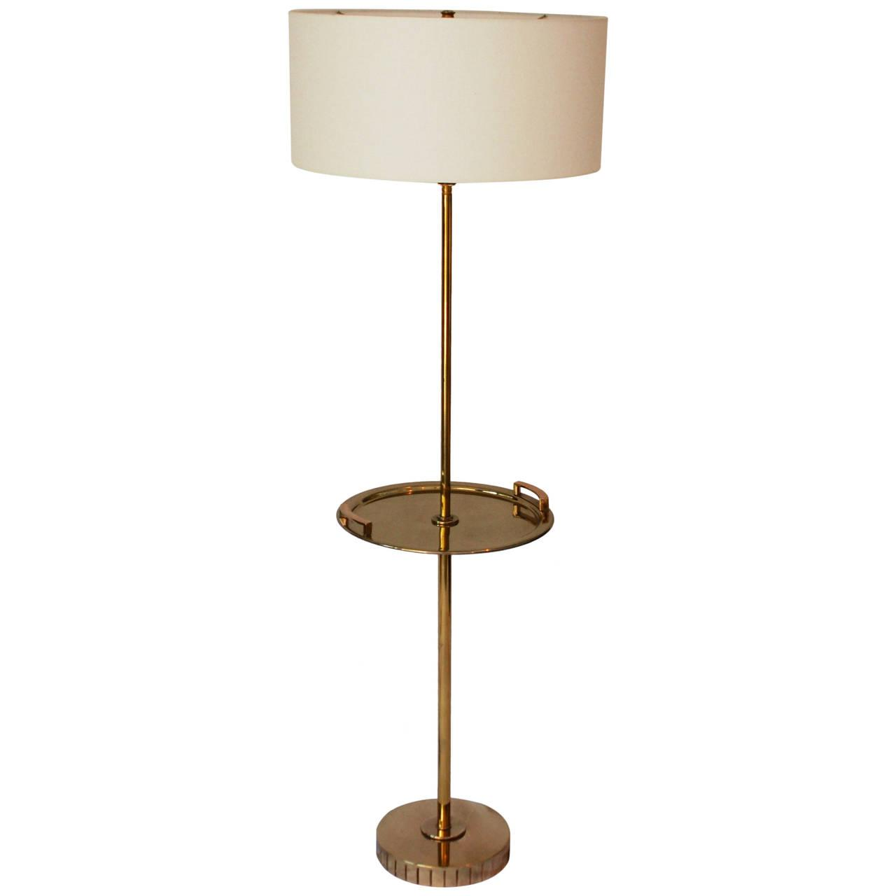 Brass Floor Standing Lamp With Brass Tray Table Chairish