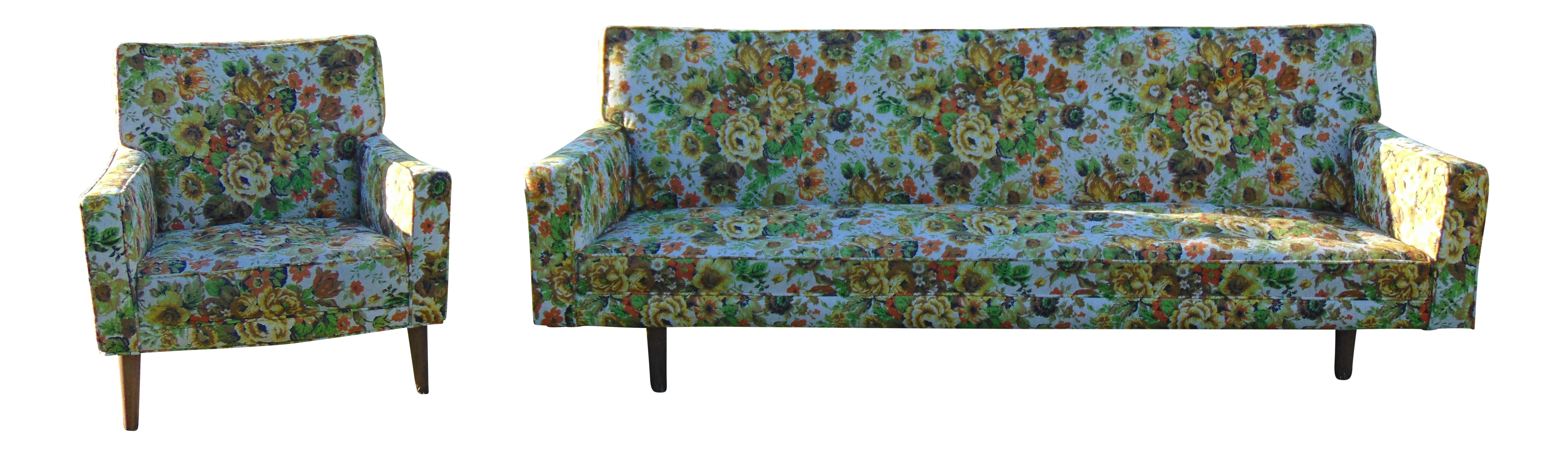 Mid Century Floral Sofa and Chair