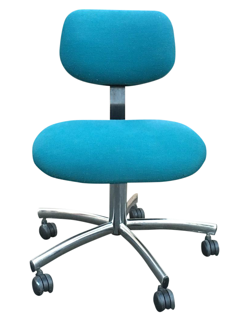 Steelcase modern teal swivel office chair chairish for Small teal chair