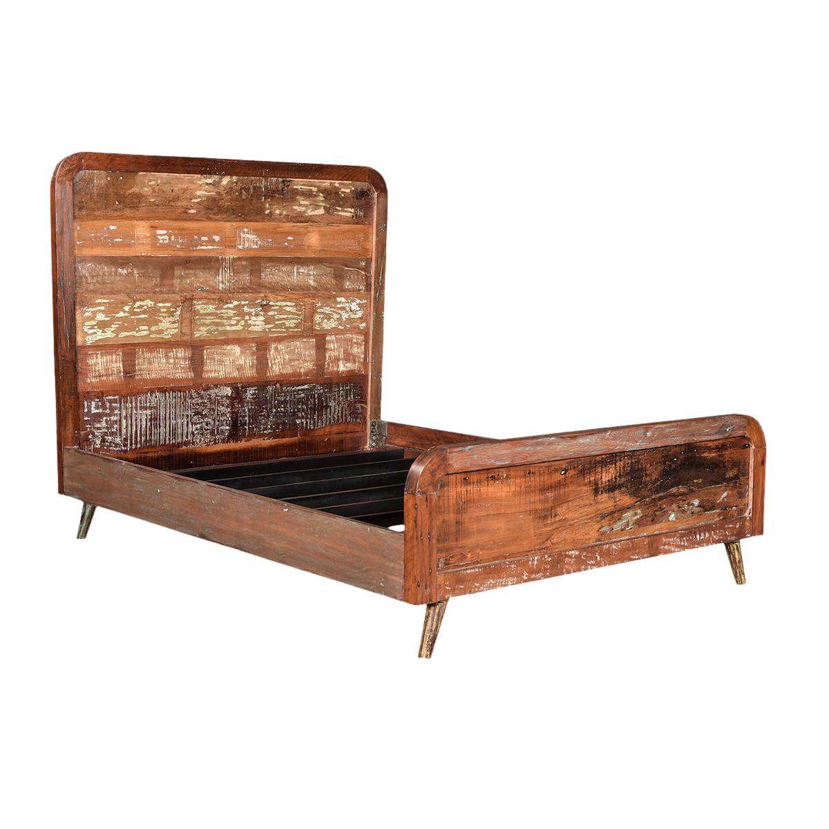 Reclaimed wood retro queen bed frame chairish for Buy reclaimed wood los angeles