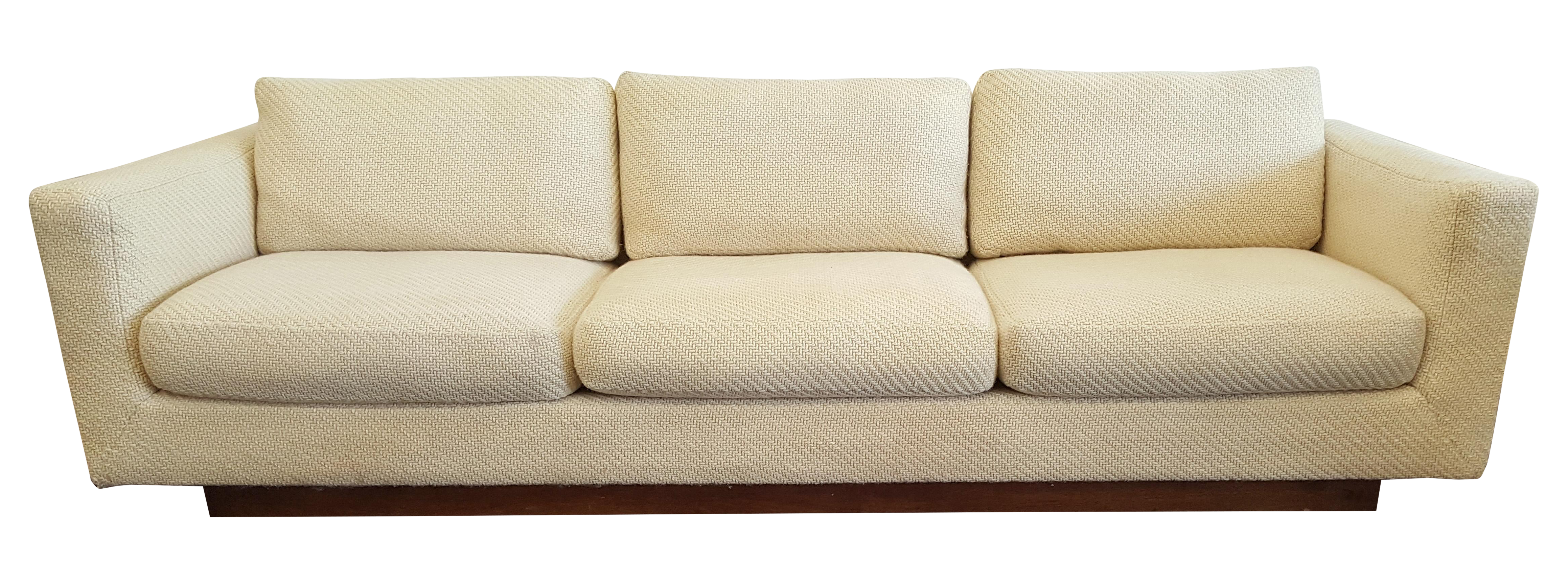 Mid Century Dunbar Tuxedo Sofa with Walnut Plinth