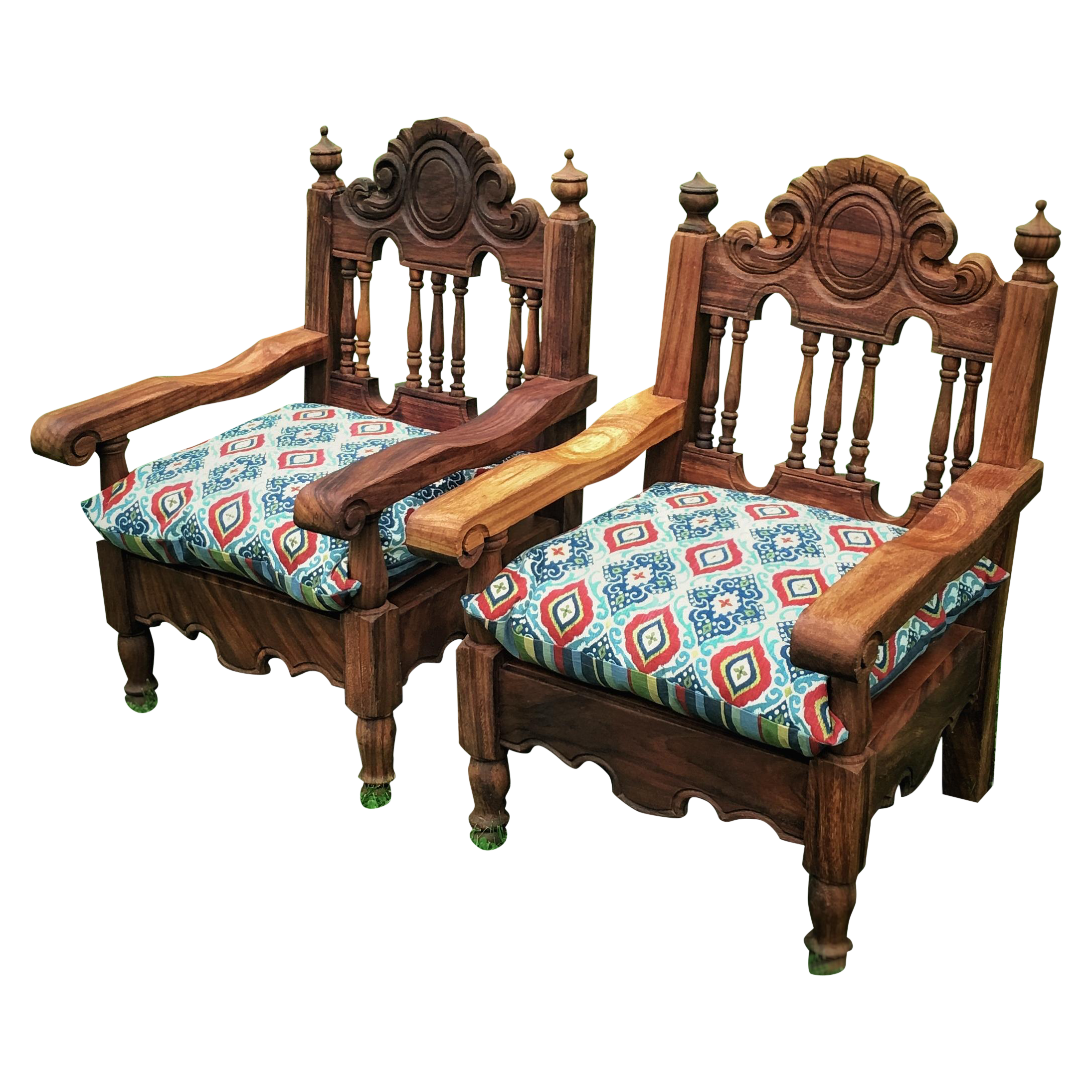 Hand Carved Mexican Throne Chairs Pair