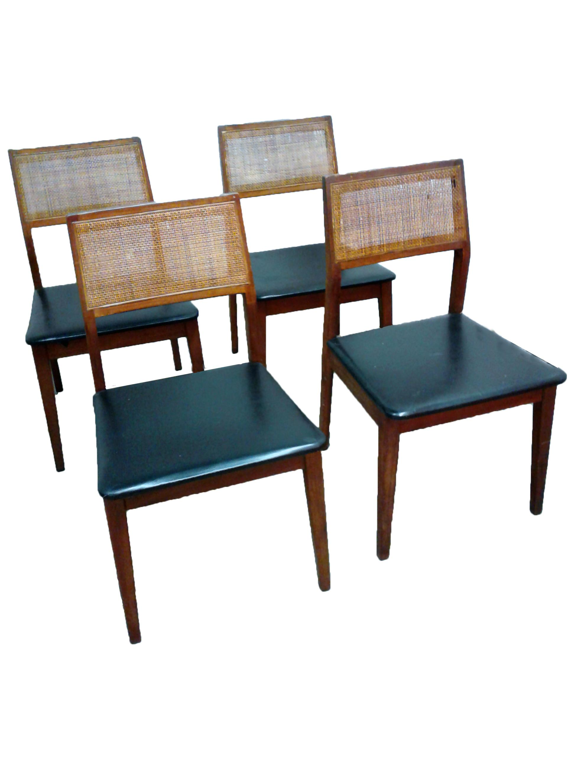 Vintage Hibriten Walnut Cane Back Dining Chairs Set of 4
