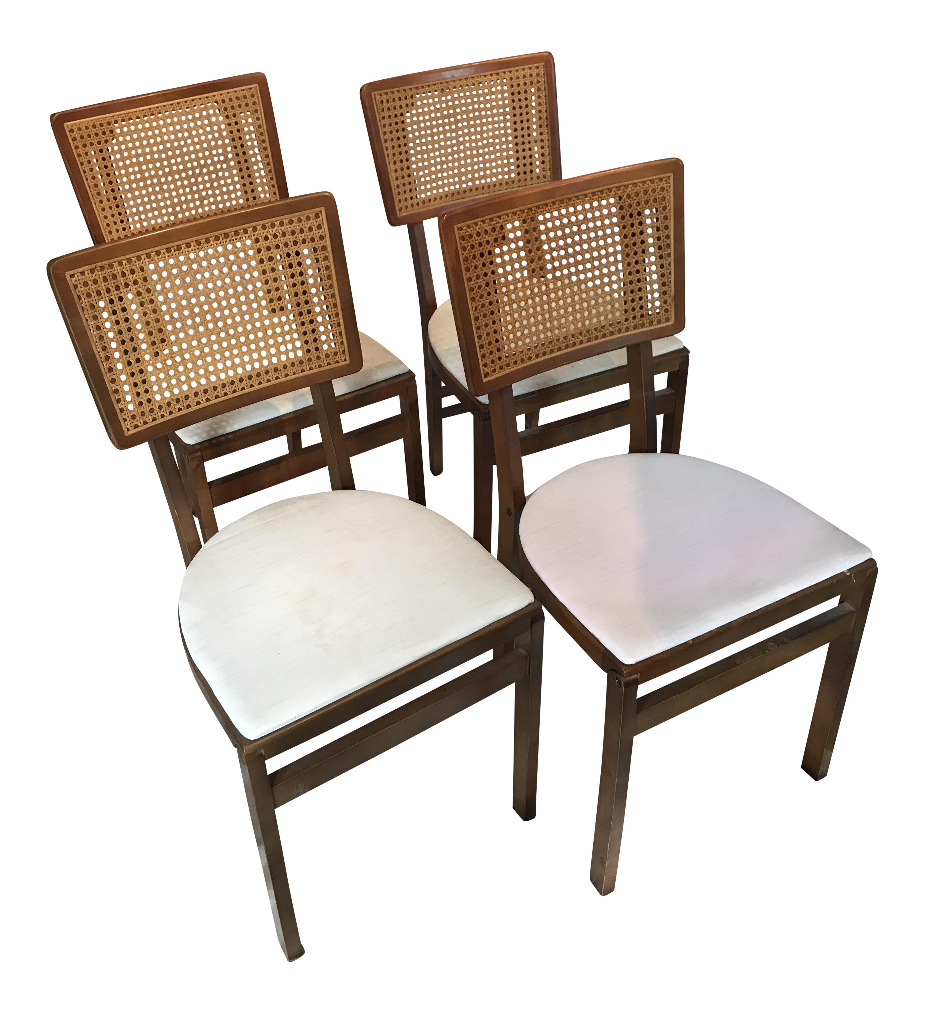 Vintage Stakmore Cane Folding Chairs Set of 4