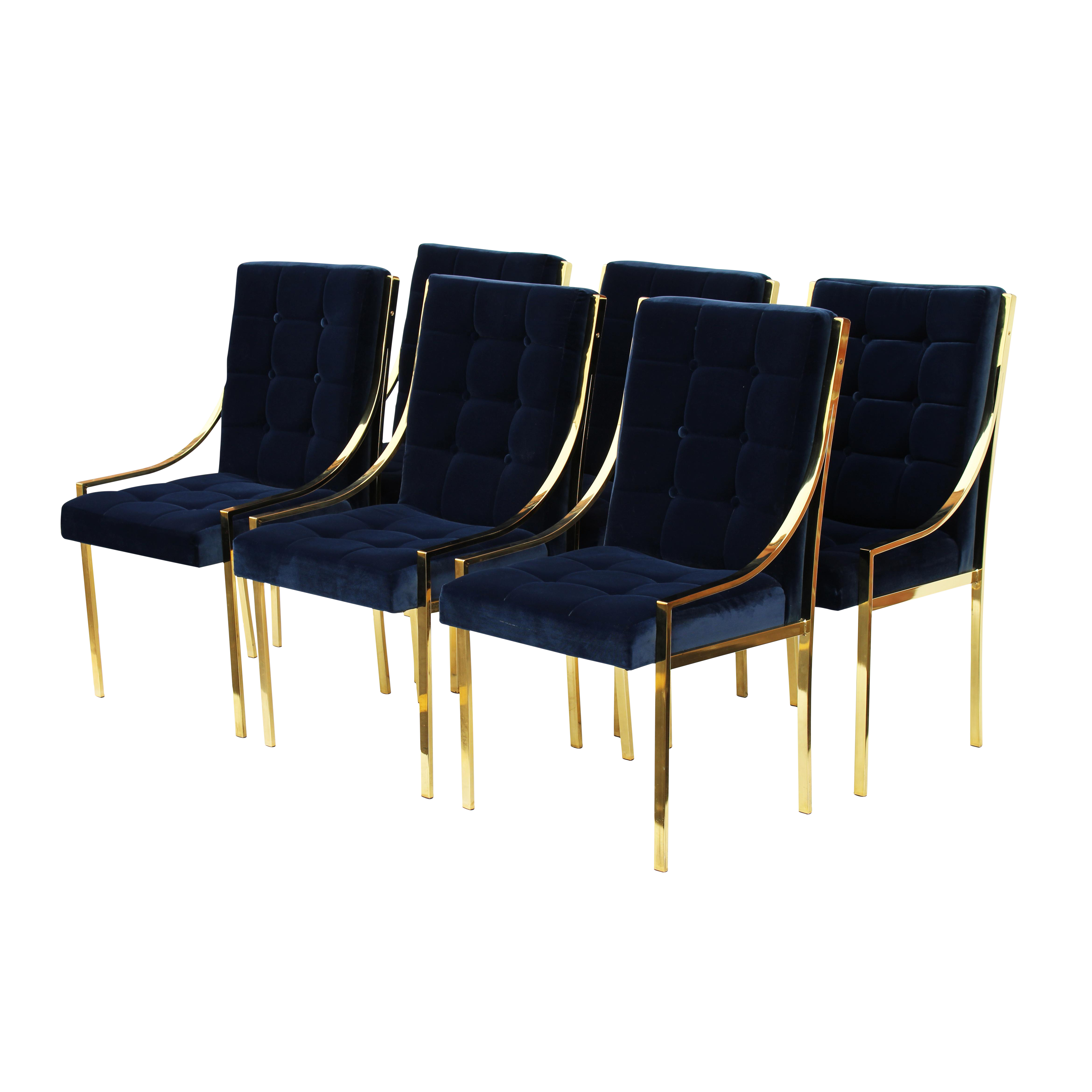 Bassett Furniture Blue Velvet & Brass Dining Chairs Set of 6