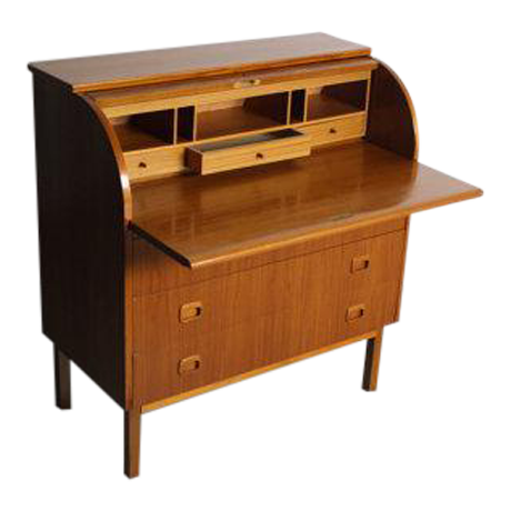 Danish Modern Teak Secretary Desk In Style Of Egon