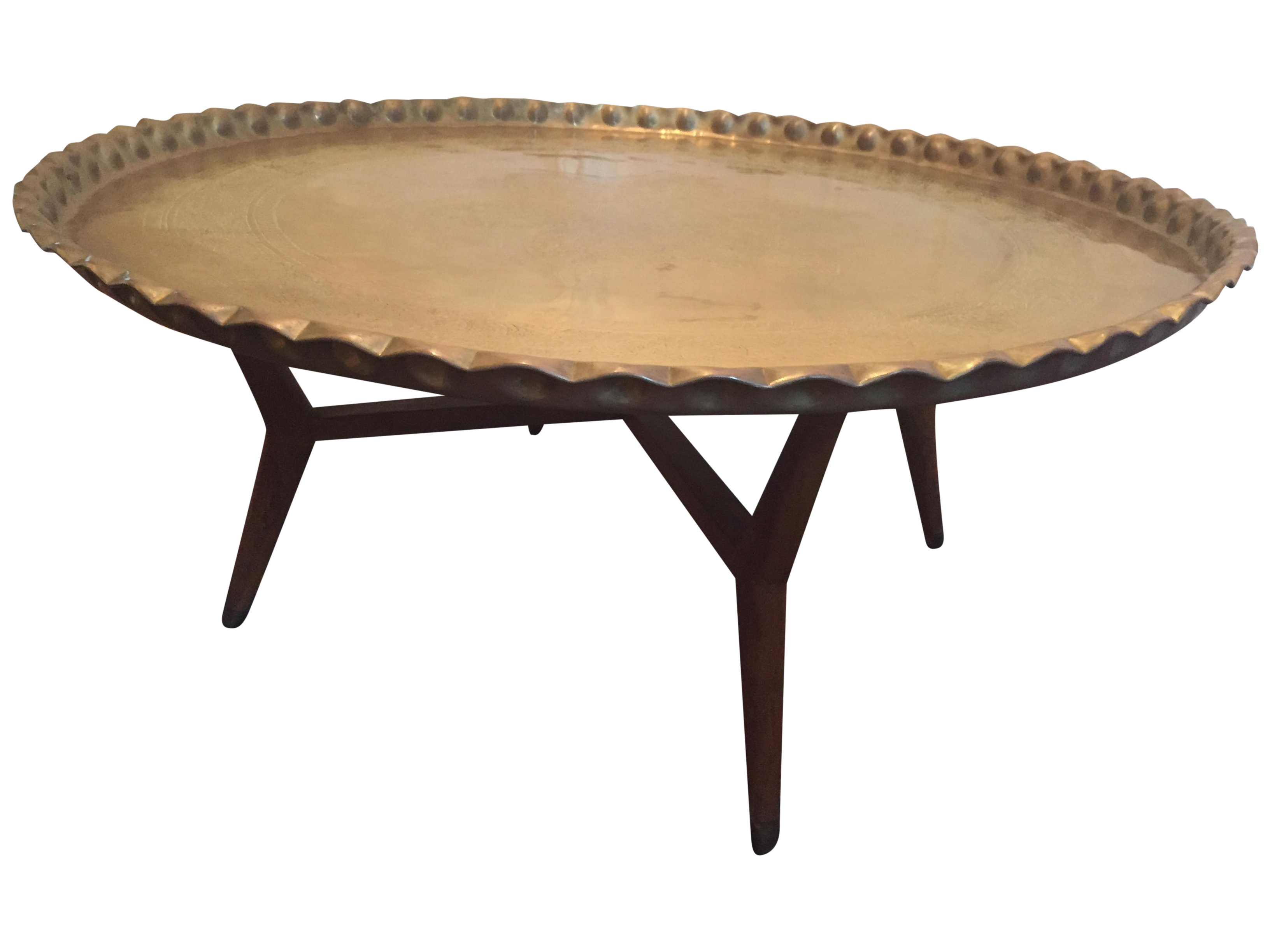 Extra Large Mcm Brass Tray Coffee Table Chairish