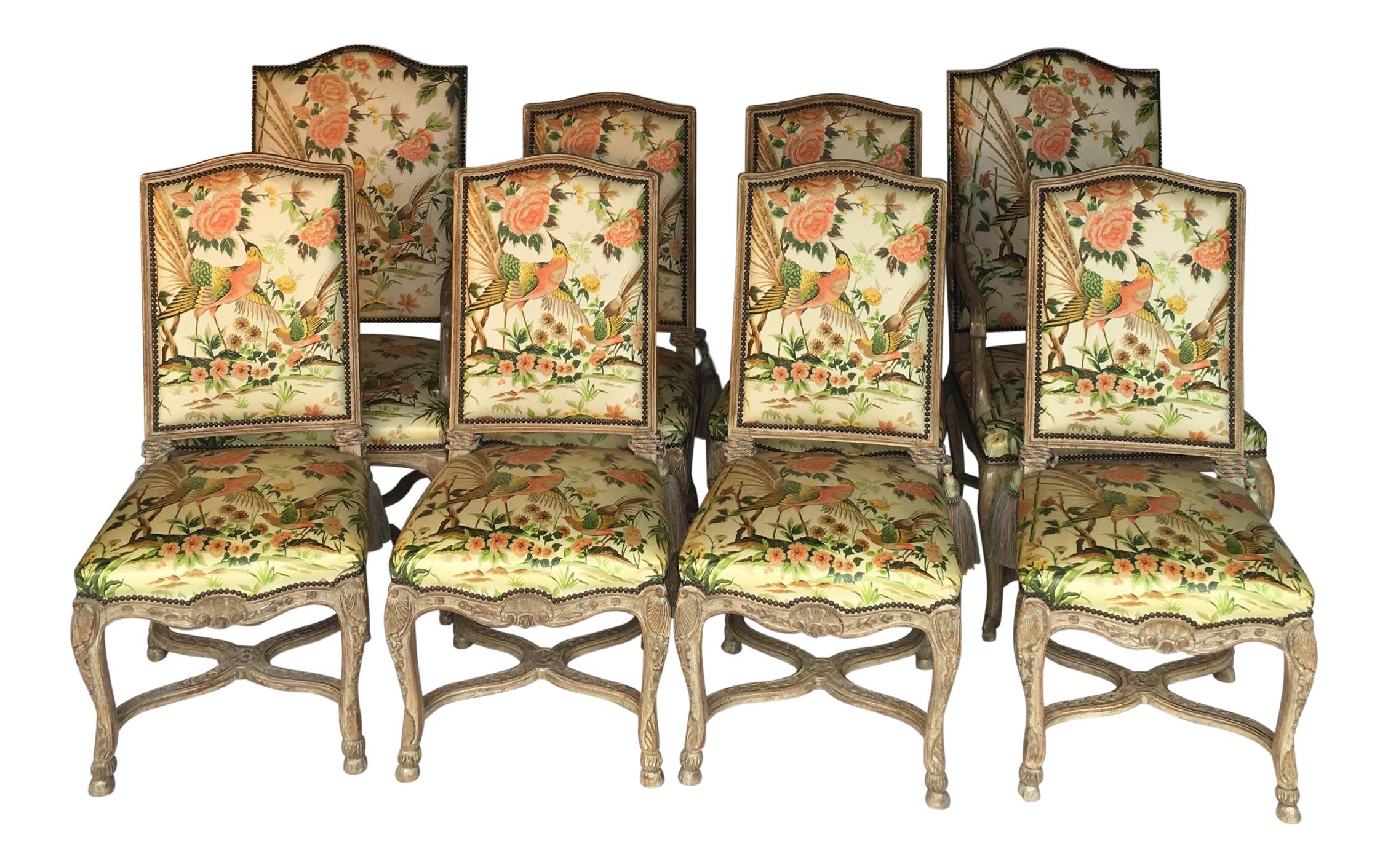 Auffray & Co French Louis XV Walnut Dining Chairs Set of 8