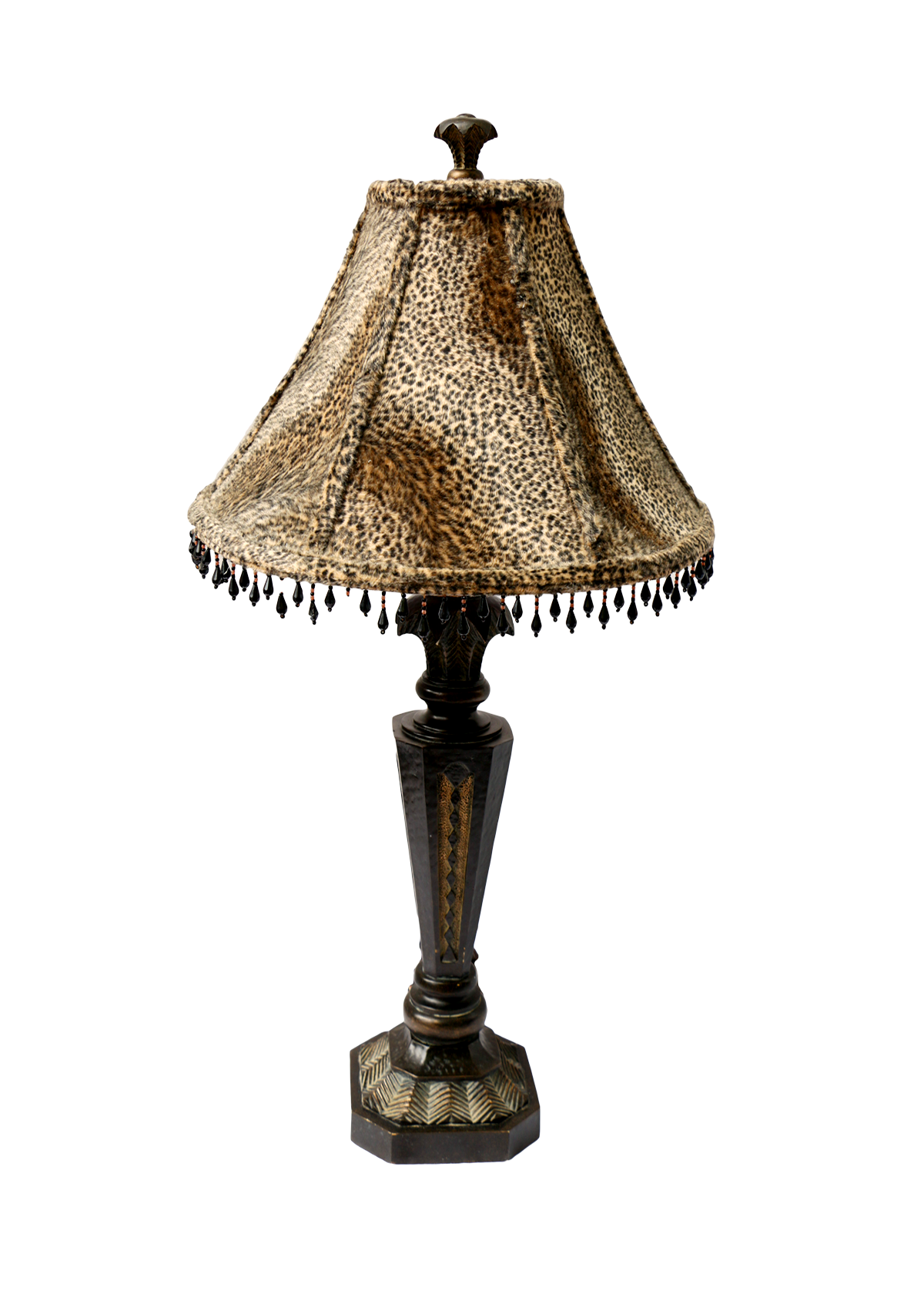 Wood carved table lamp with leopard print shade chairish for Floor lamp with leopard shade