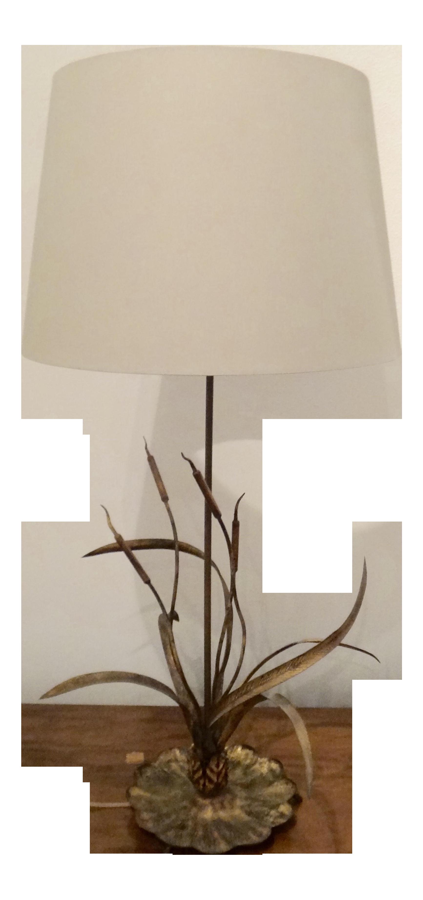 Gilt Cattail Reed Sculptural Table Lamp Chairish