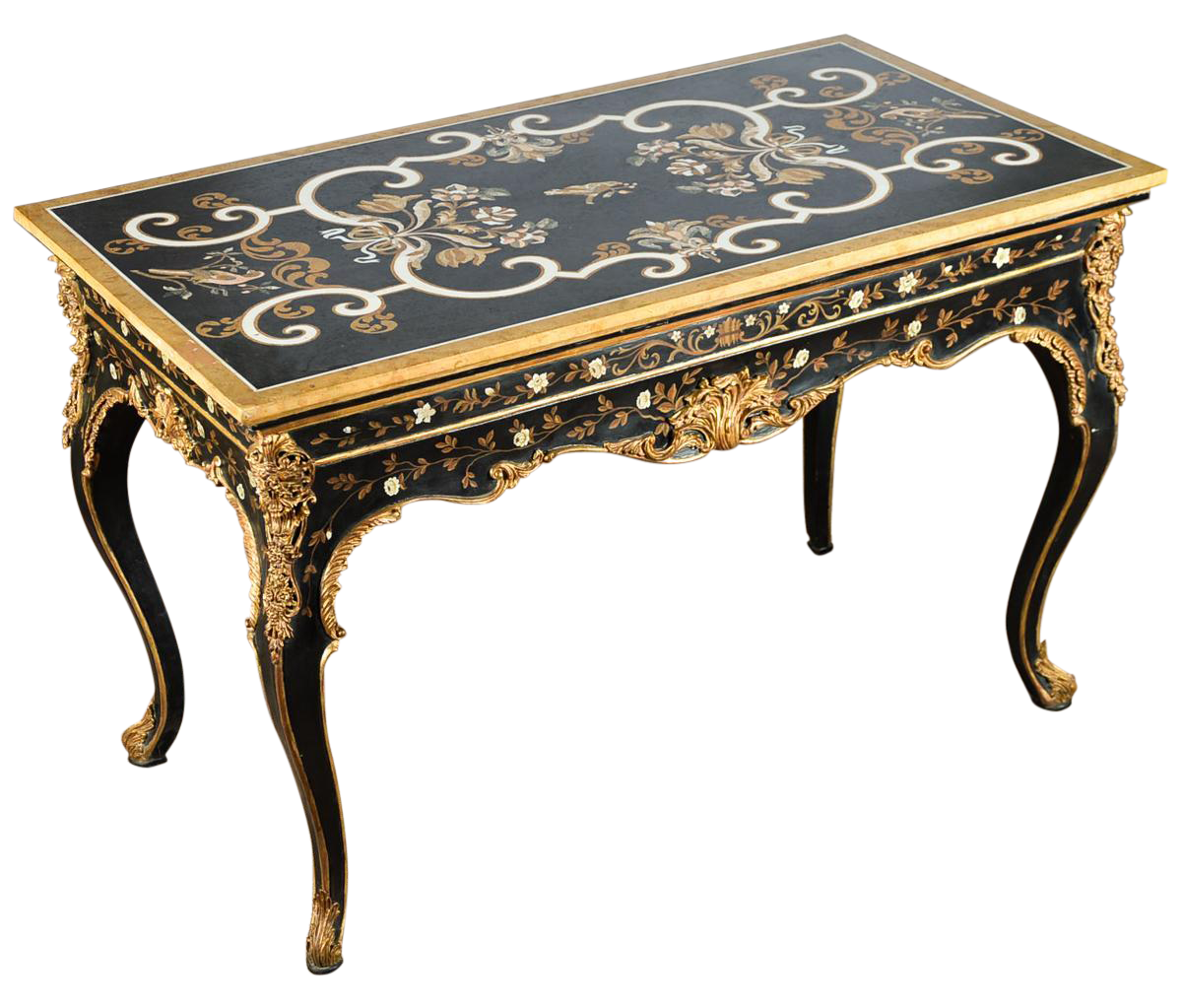 French Gilt amp Ebonized Center Table WMarble Top Chairish