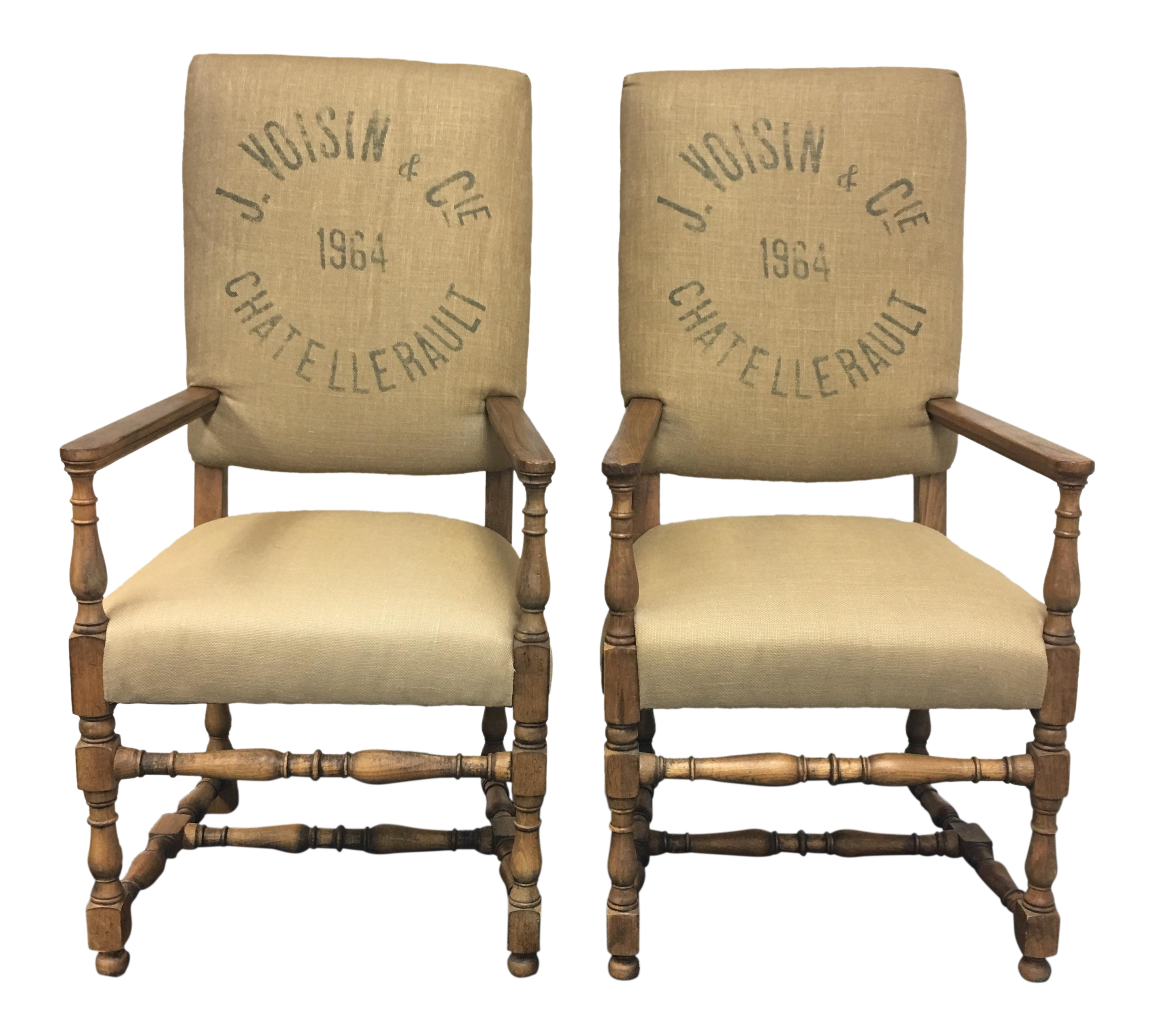 Restoration Hardware English Baroque Printed Chairs A Pair