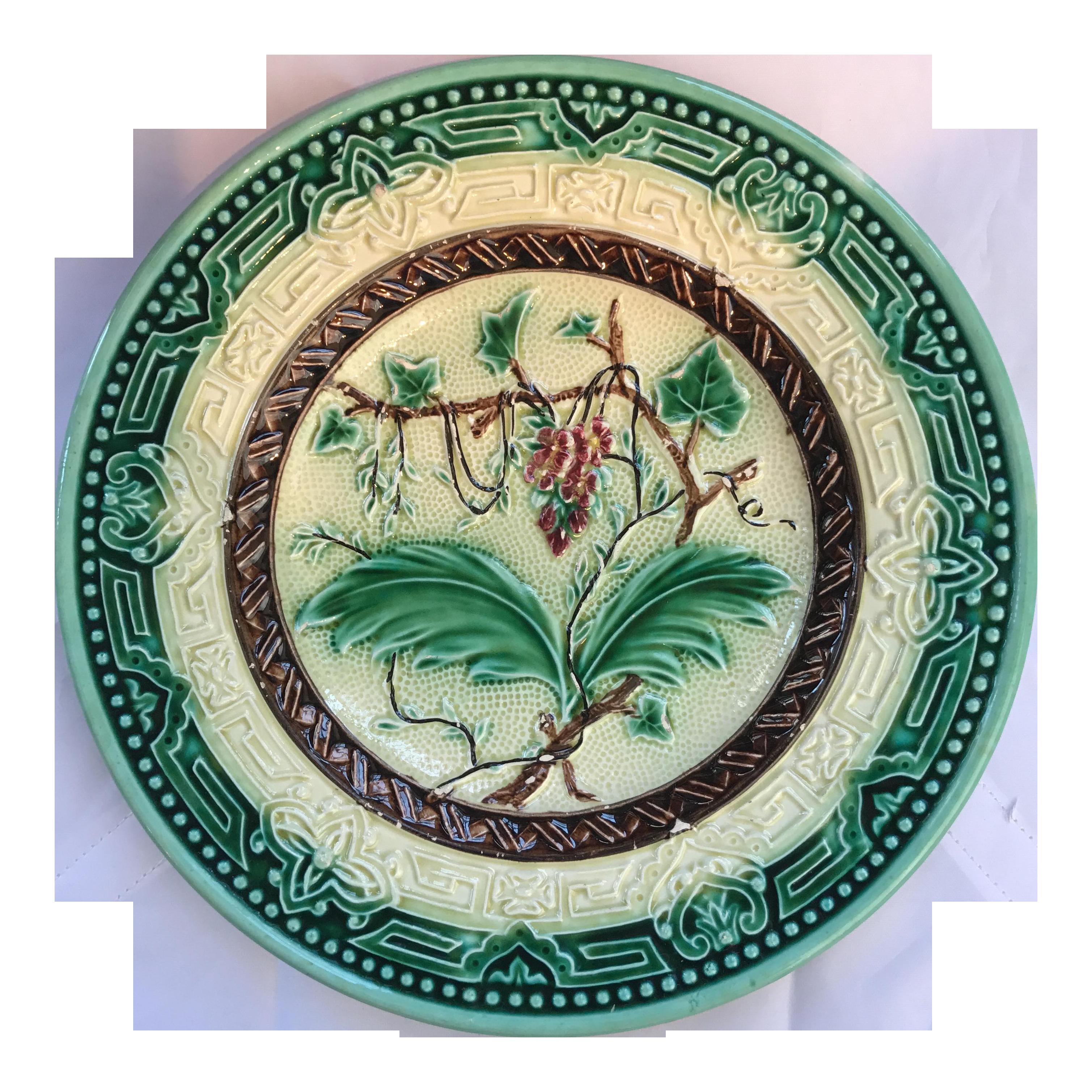 Majolica Floral Plate Chairish