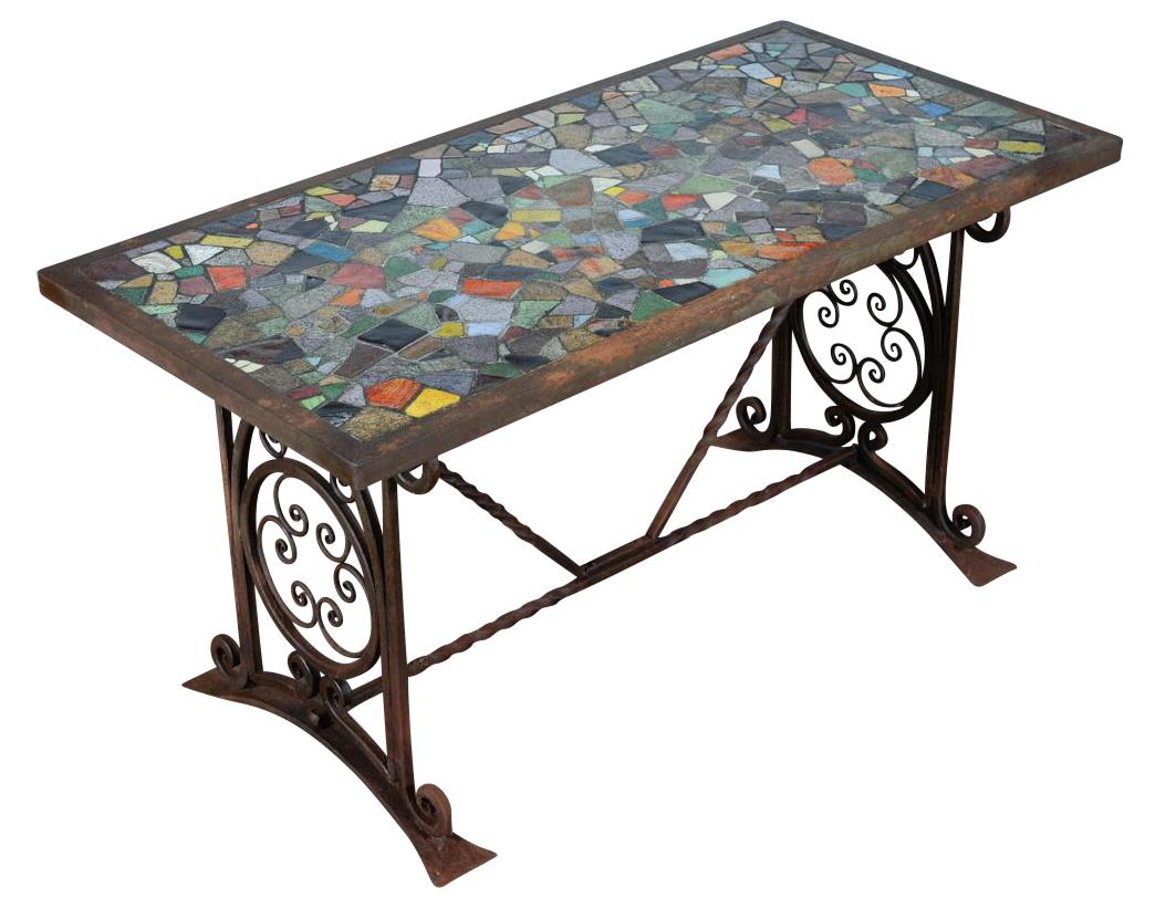 Antique Spanish Iron Coffee Table W Mosaic Tiles