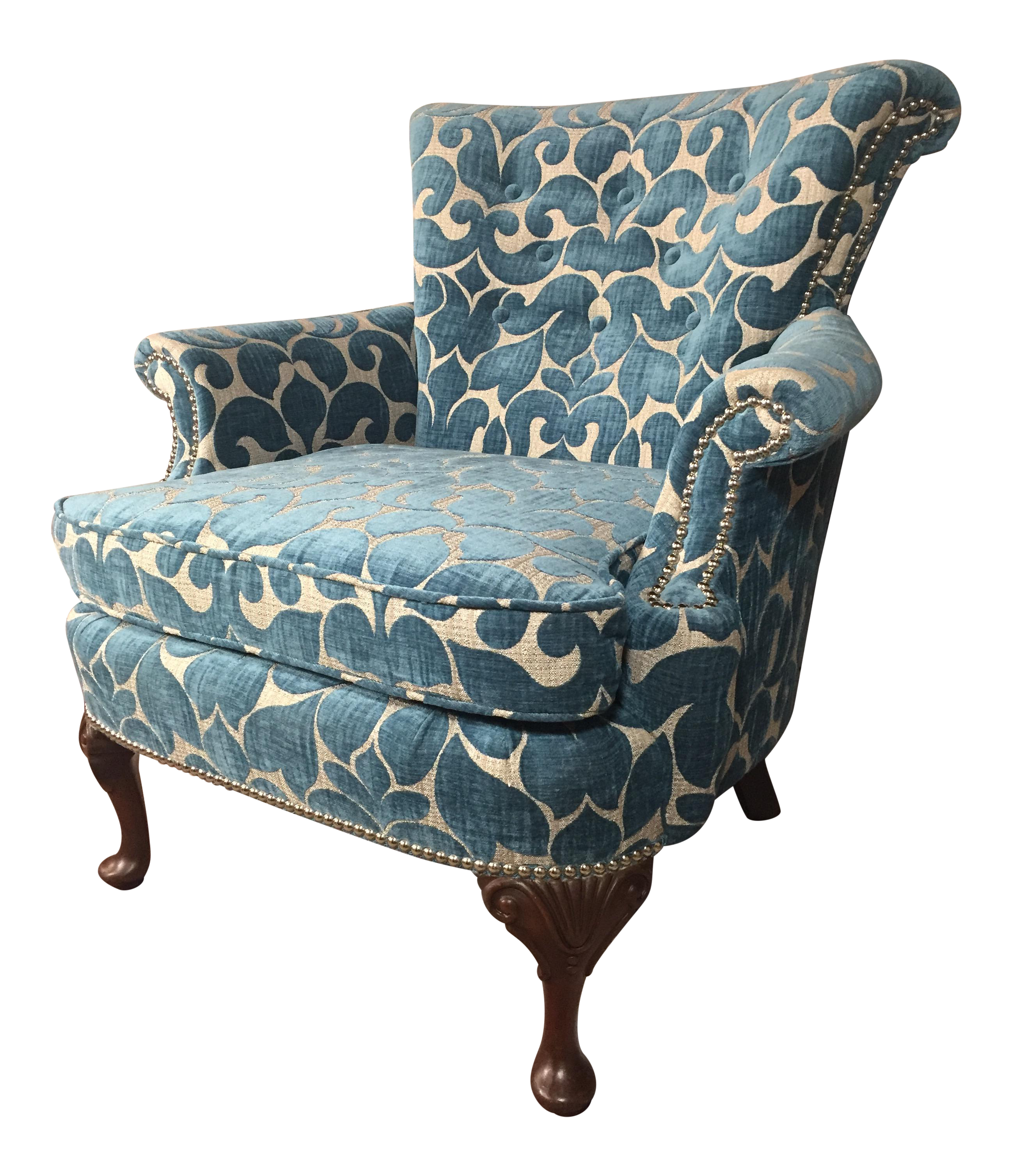 Velvet Teal Nailhead Studded Chair Chairish