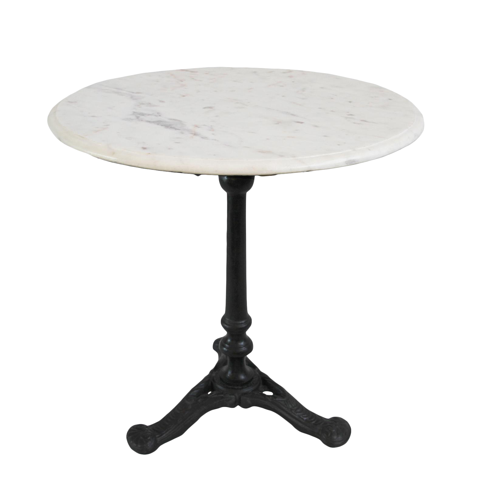 white marble cast iron side table chairish. Black Bedroom Furniture Sets. Home Design Ideas
