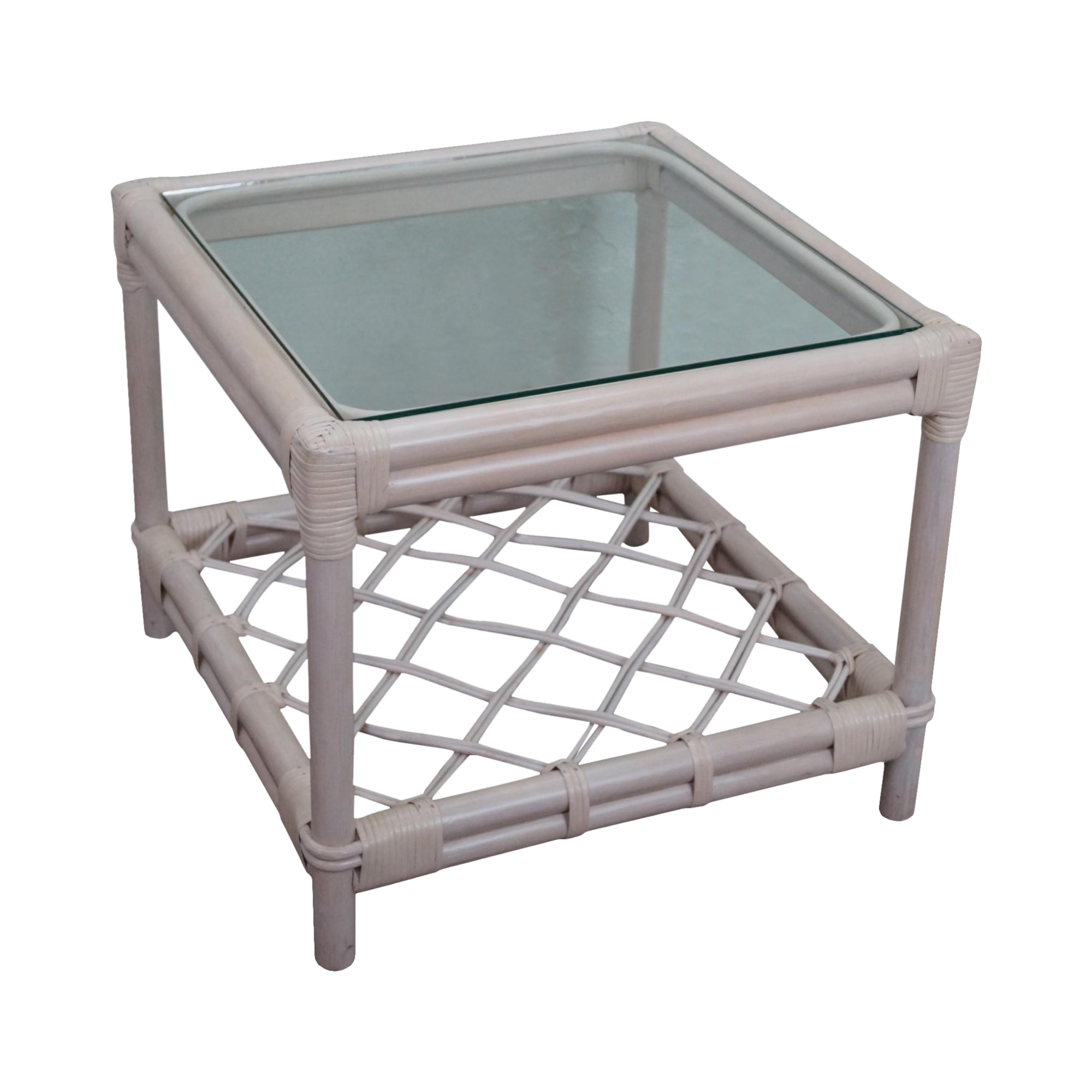 Glass top end table - Image Of Ficks Reed Painted Rattan Glass Top End Table