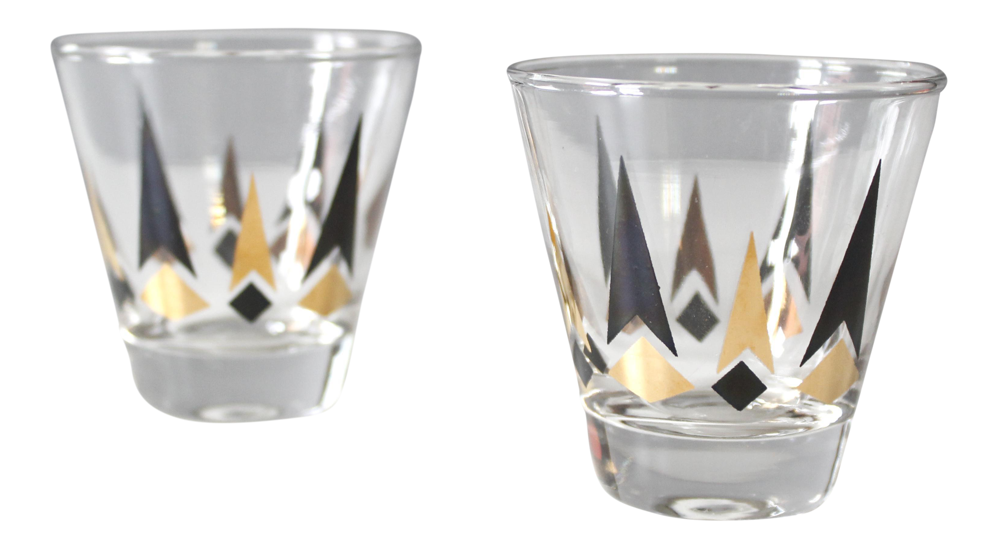 Set Of 2 Small Mid Century Cocktail Glasses Black Amp Gold