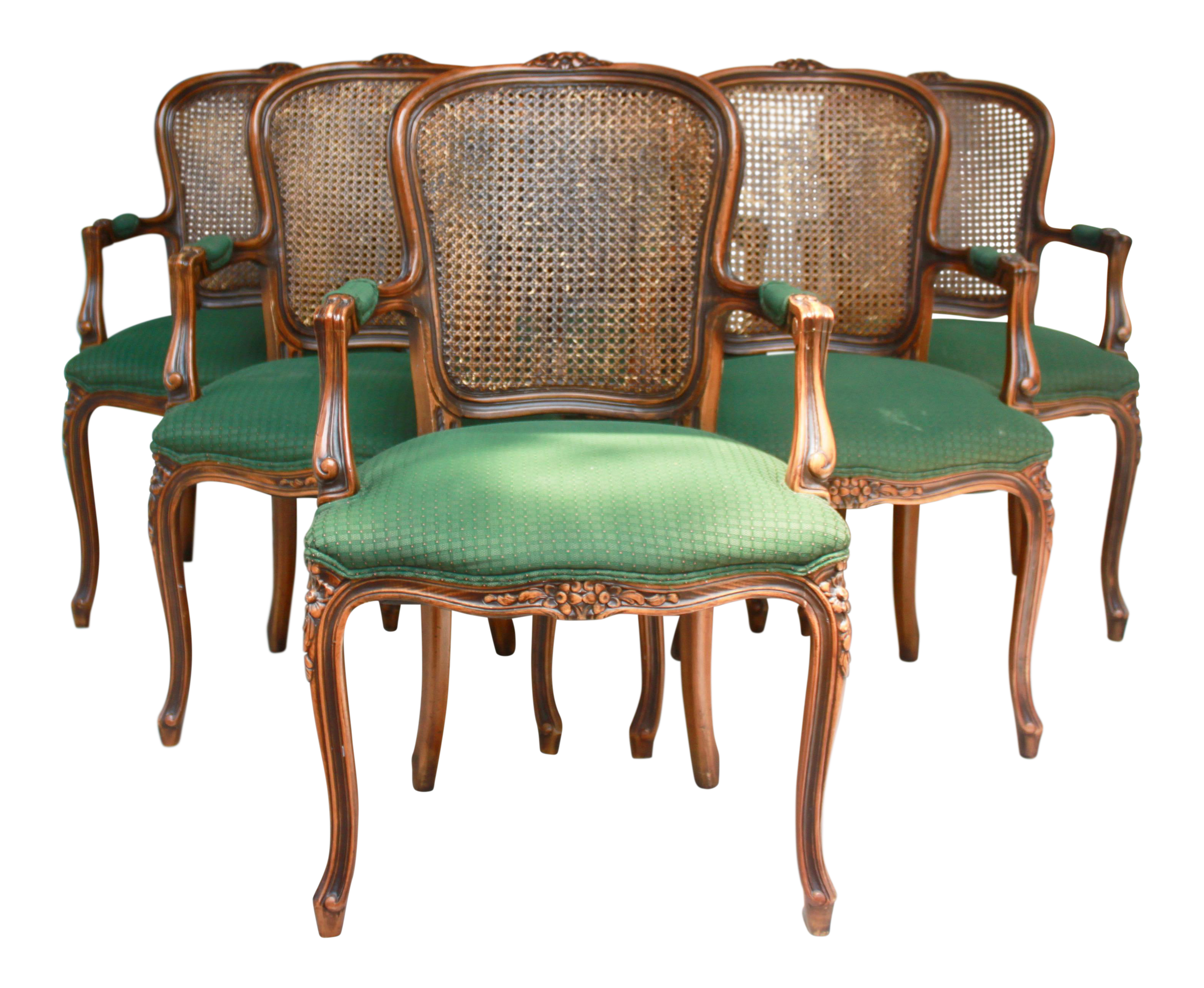 French Country Caned Back Dining Chairs Set of 6