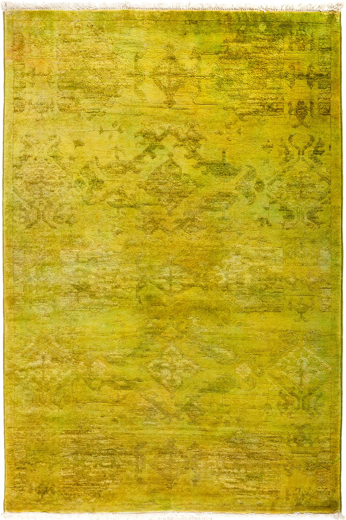 New Hand Knotted Overdyed Chartreuse Rug 3 X 4 7 Chairish