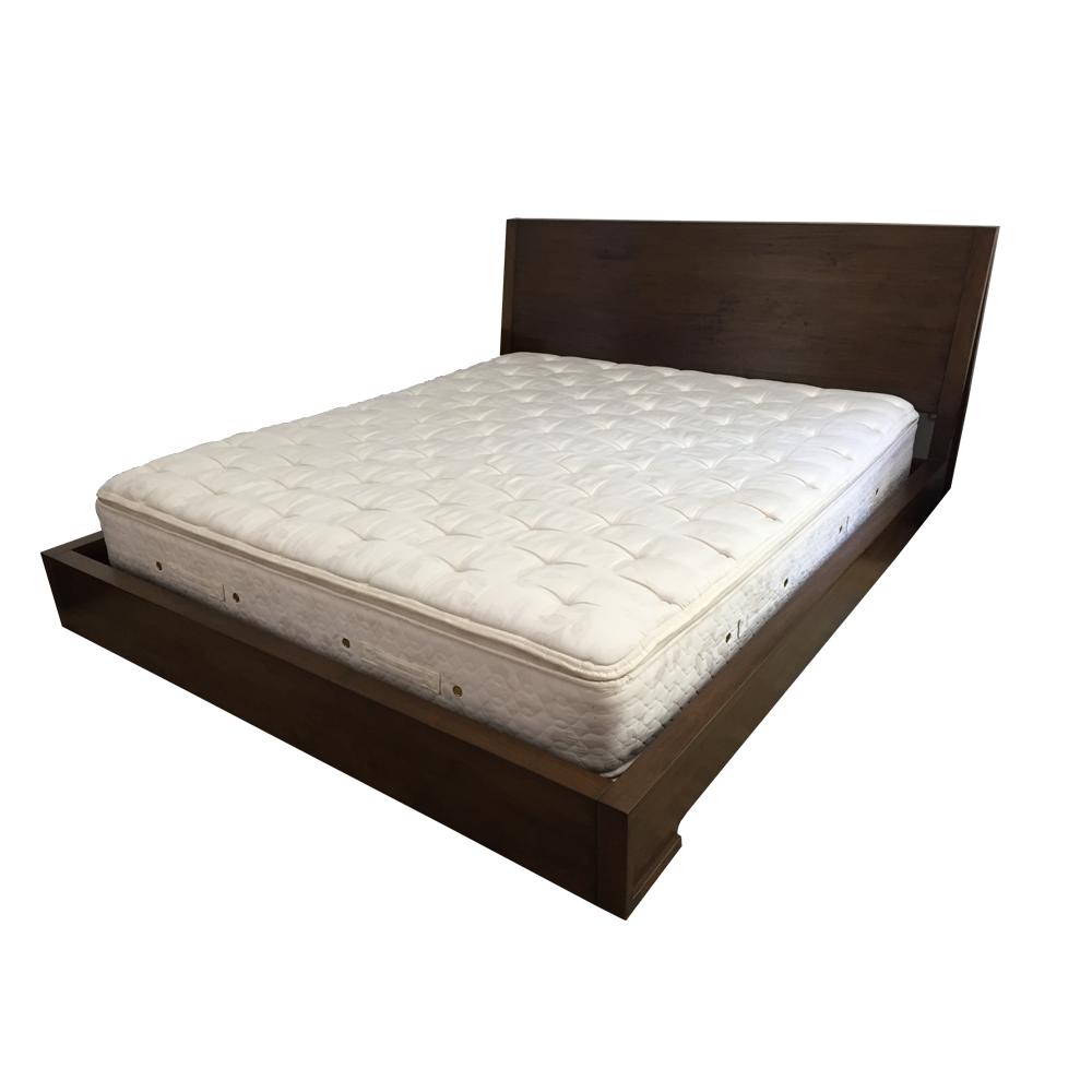 Queen dark wood platform bed chairish - Design within reach bed frame ...