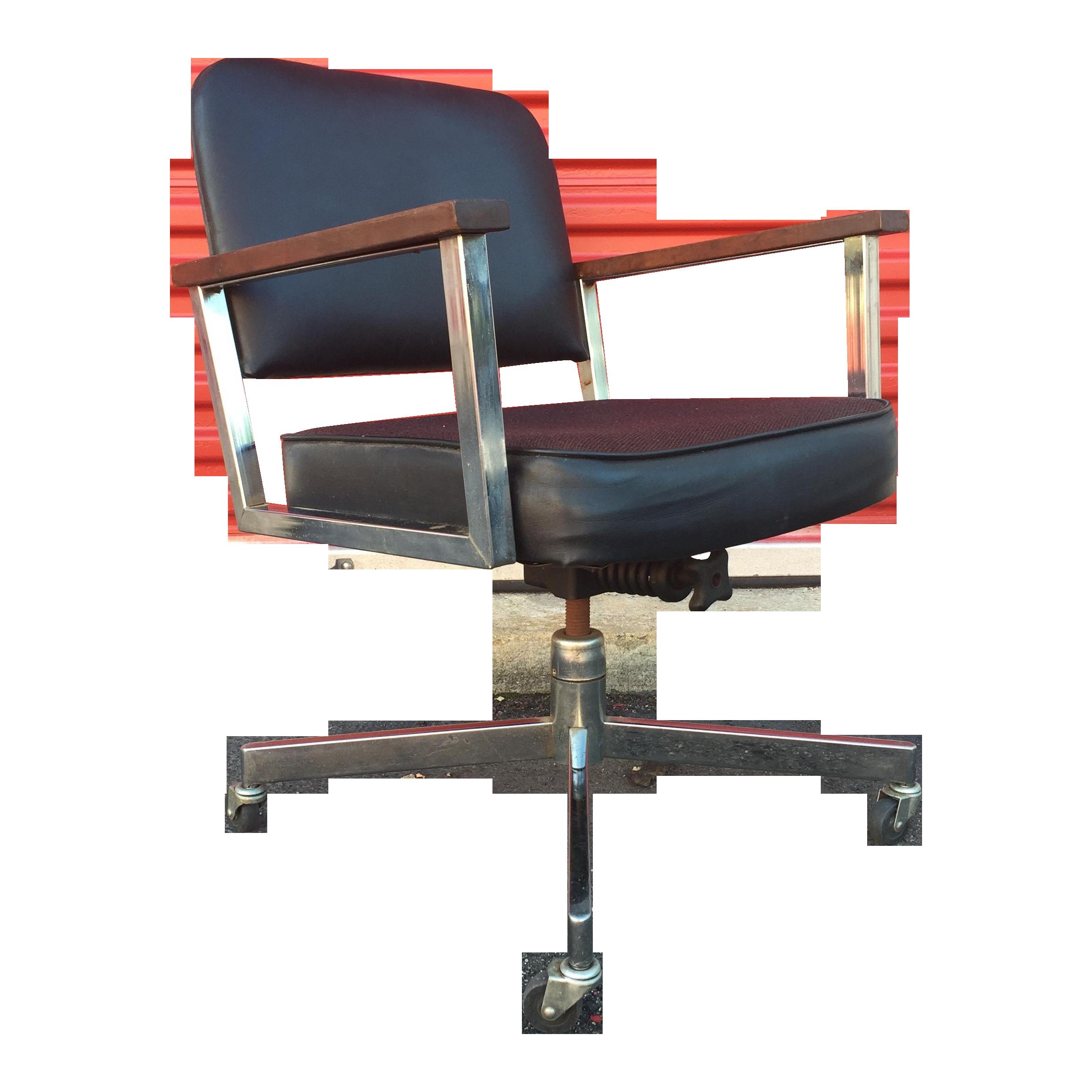 midcentury wheeled desk chair with chrome  wood  chairish -