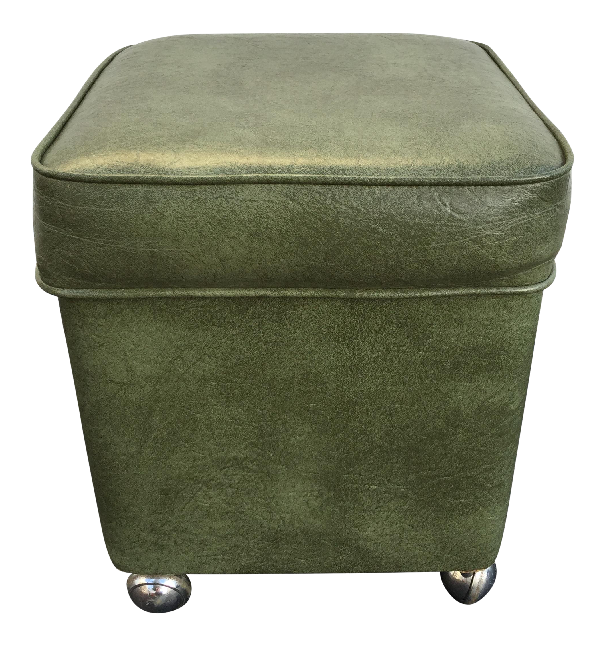 Mid century green vinyl storage hassock on casters chairish for Small storage hassocks