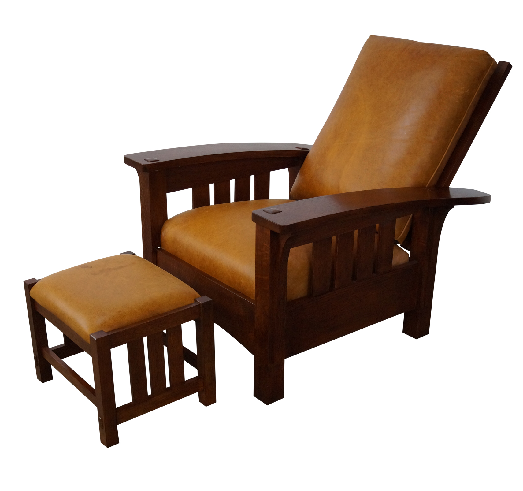 Stickley Mission Oak Leather Morris ChairOttoman Chairish