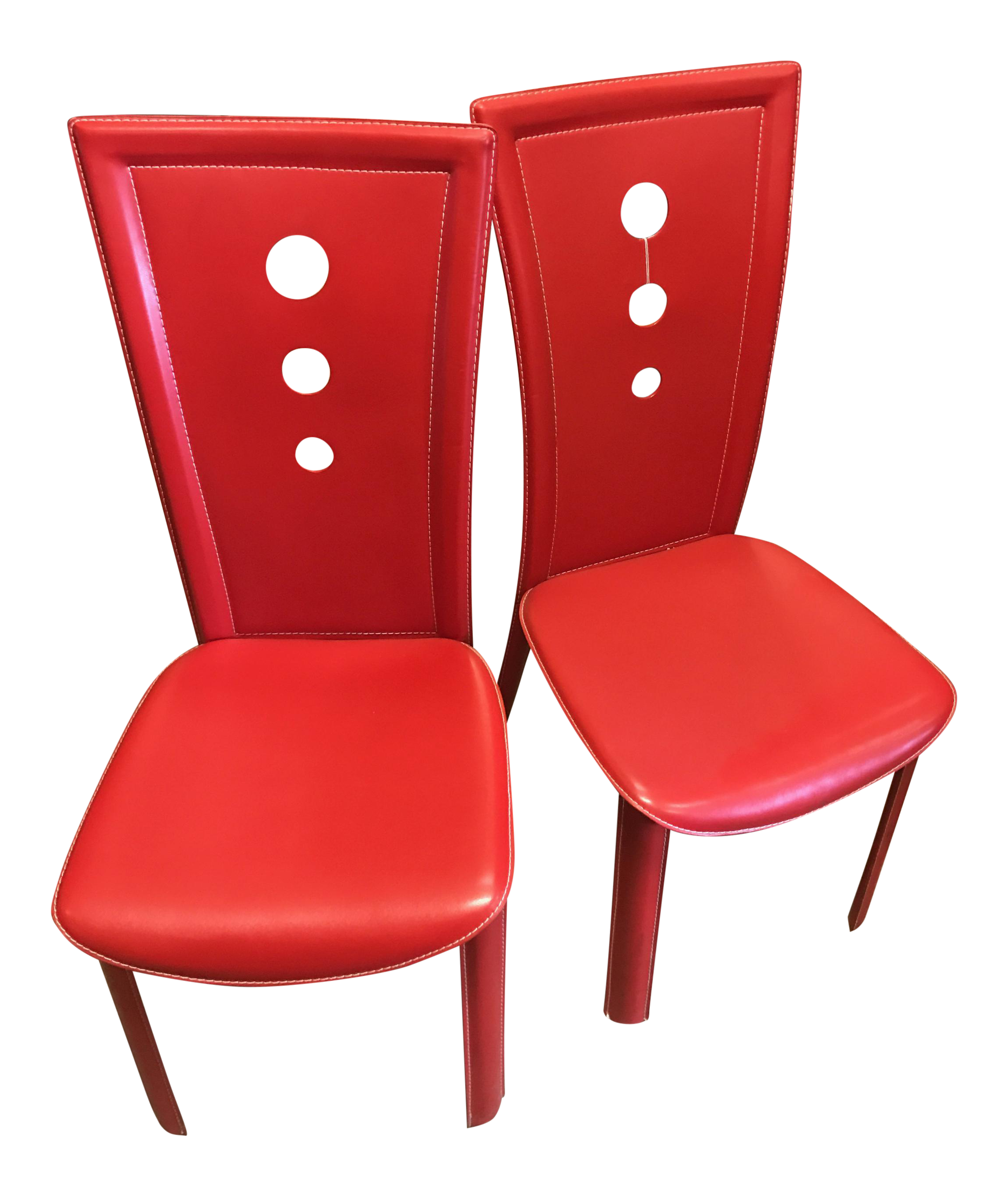 Contemporary Red Mid Century Style Chairs A Pair Chairish
