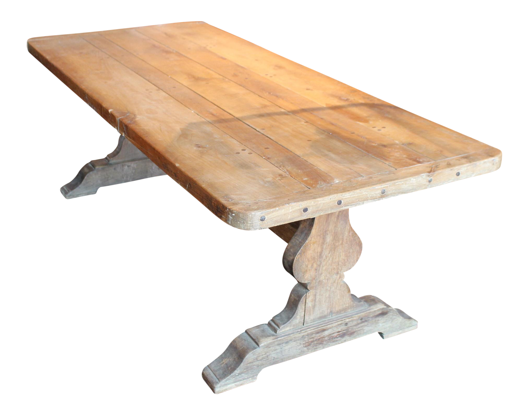 Rustic trestle base poplar dining table chairish for Rustic trestle dining table
