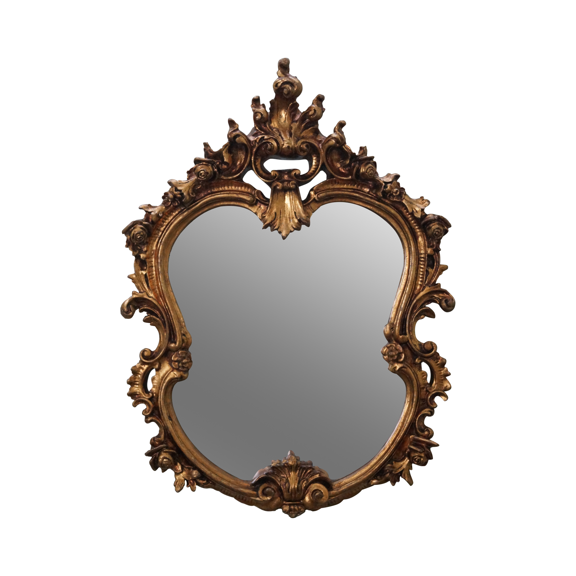 Ornate gold gilt frame rococo hanging wall mirror chairish for What is a gilt mirror