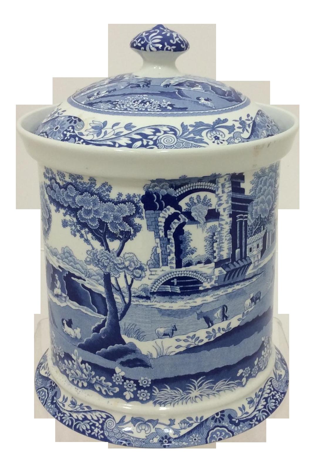 spode blue italian canister chairish