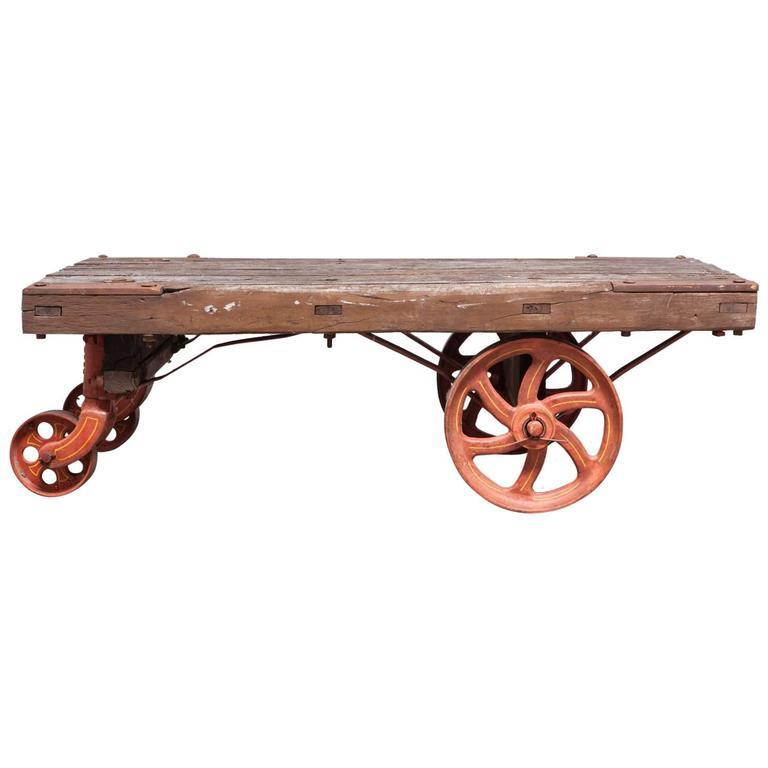 Industrial Coffee Table Ireland: Industrial Factory Rolling Cart With Iron Wheels
