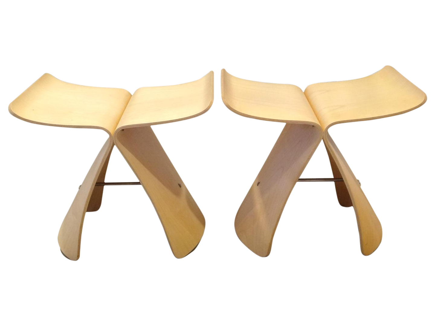 Butterfly chair sori yanagi - Image Of Sori Yanagi Butterfly Stools Pair