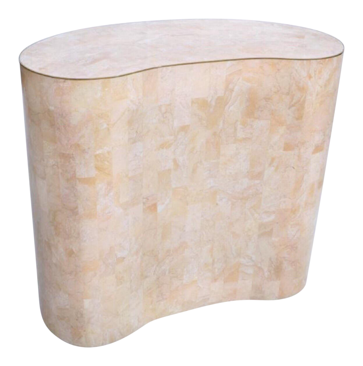 Maitland Smith Tessellated Pink Marble Kidney Side Table