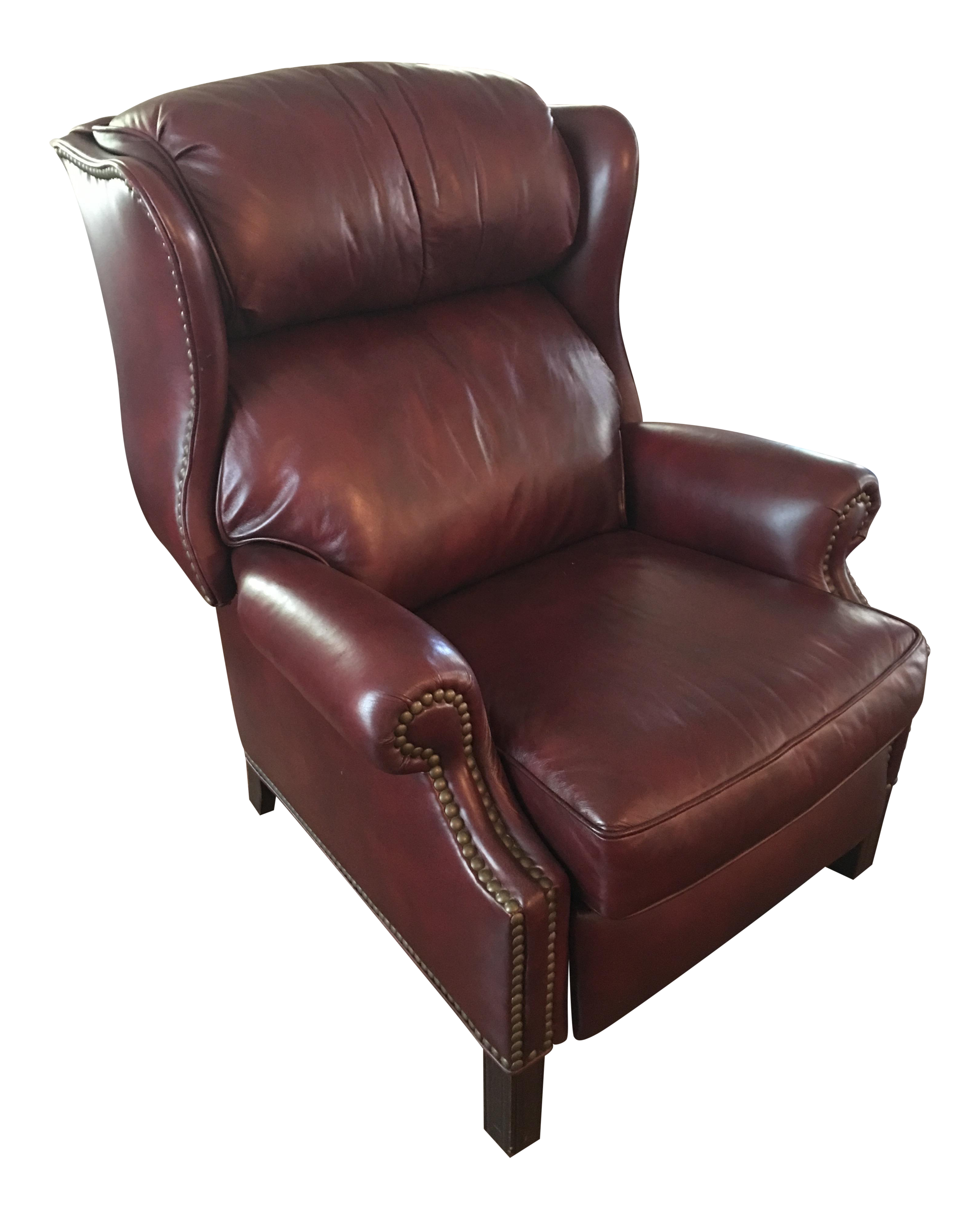 Hancock & Moore Addison Bustle Back Ball & Claw Recliner in Red