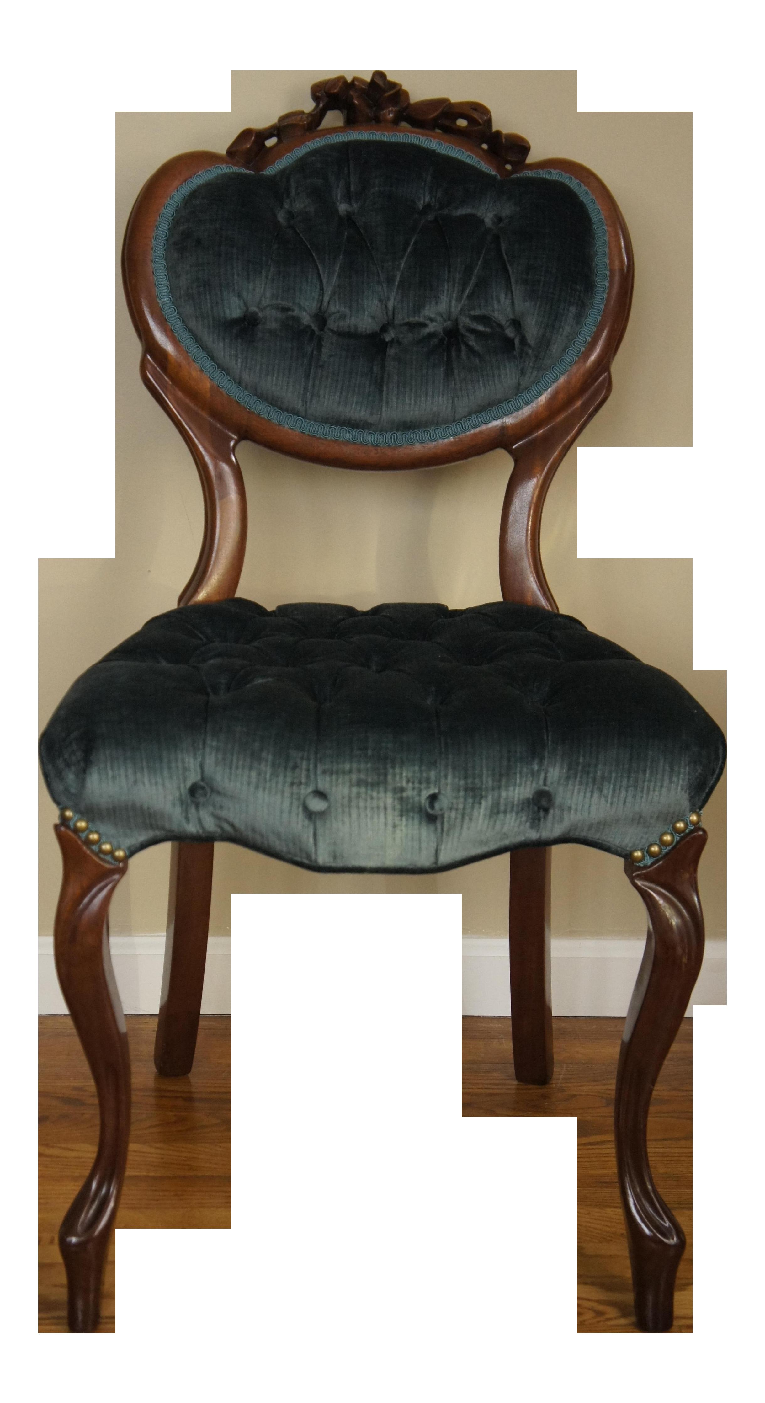 Blue Green Tufted Velvet Side Chair