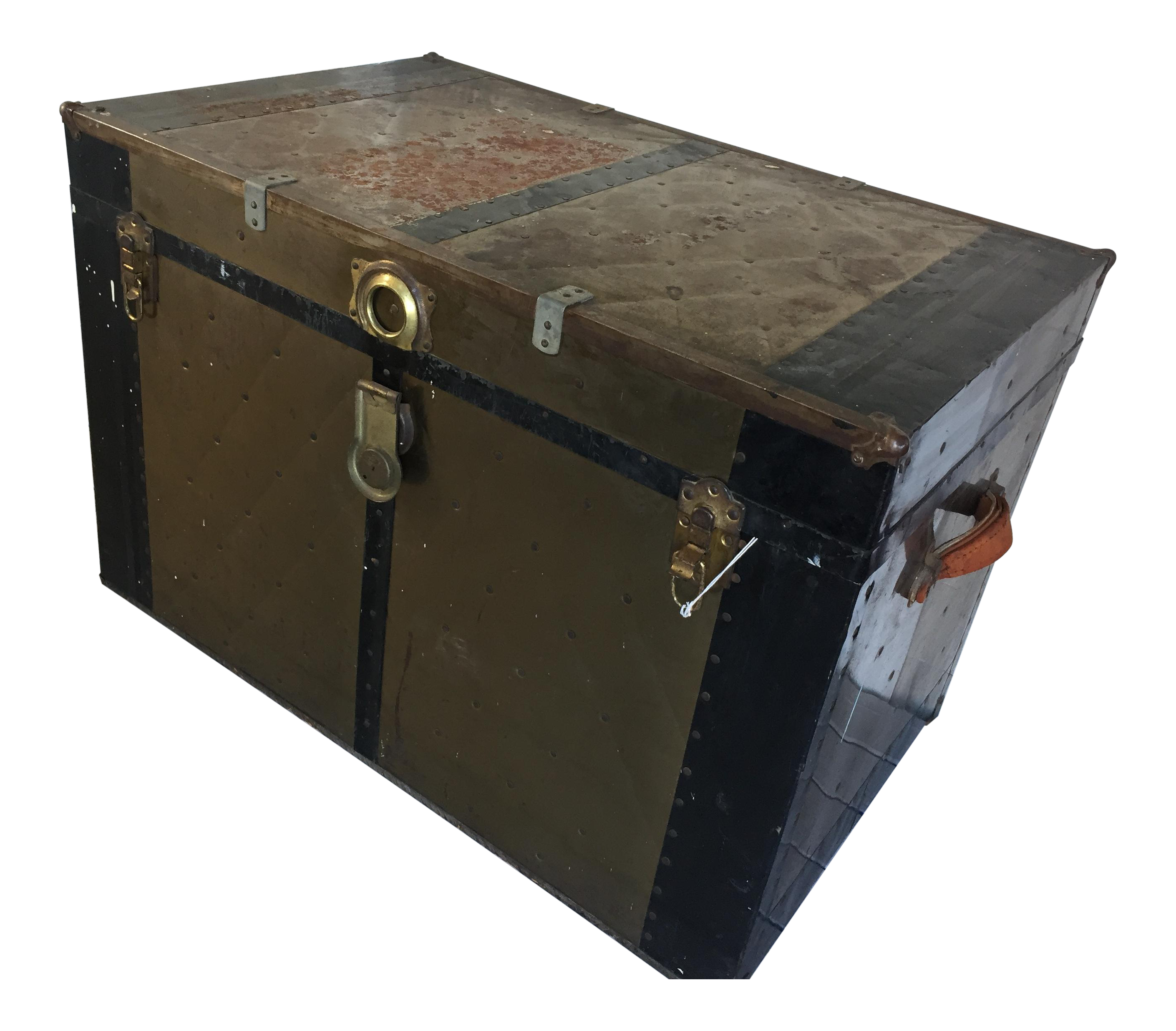 Antique Steamer Trunk With Leather Handles Chairish