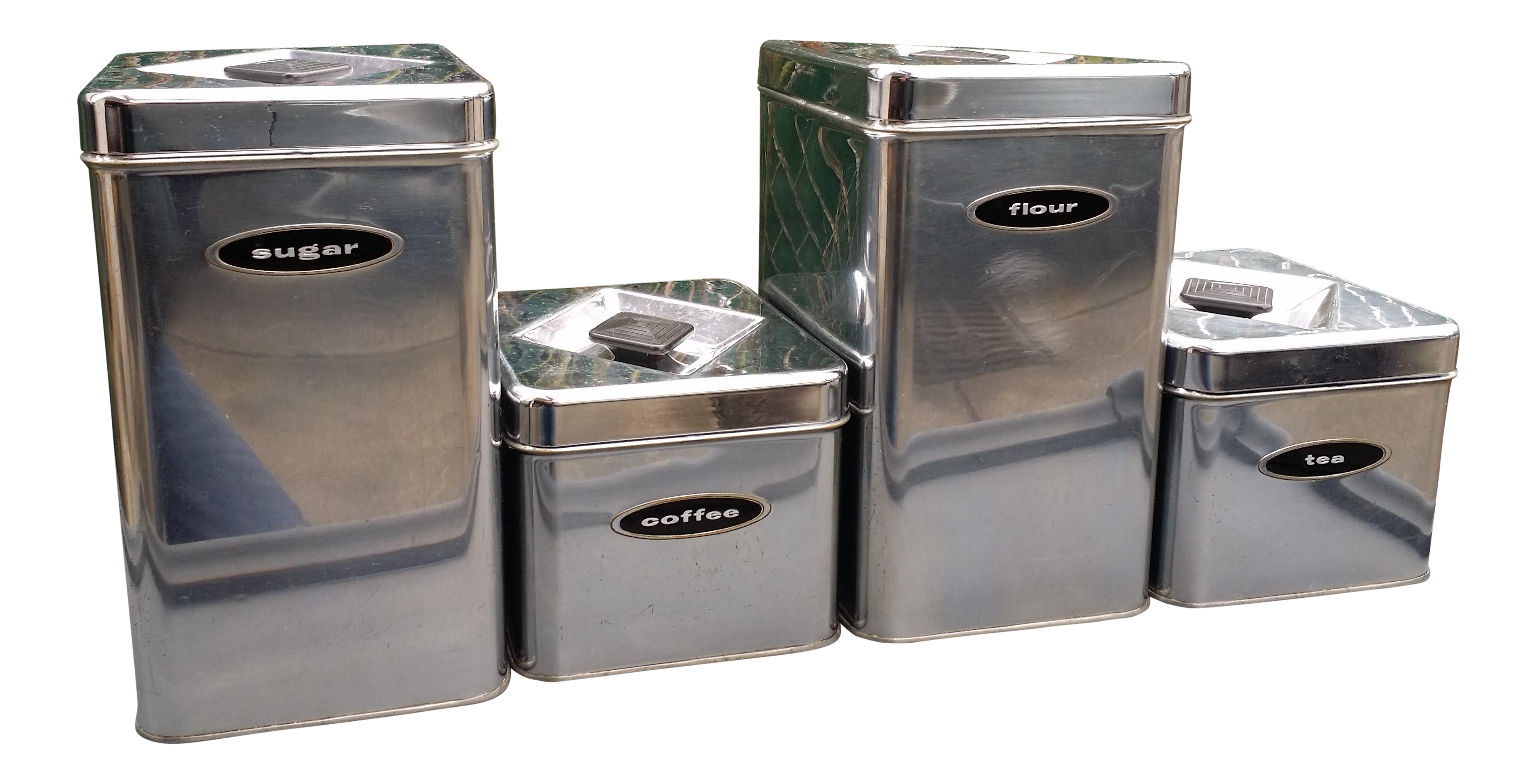 mid century chrome kitchen canisters set of 4 chairish brown canister sets kitchen white grey enamel
