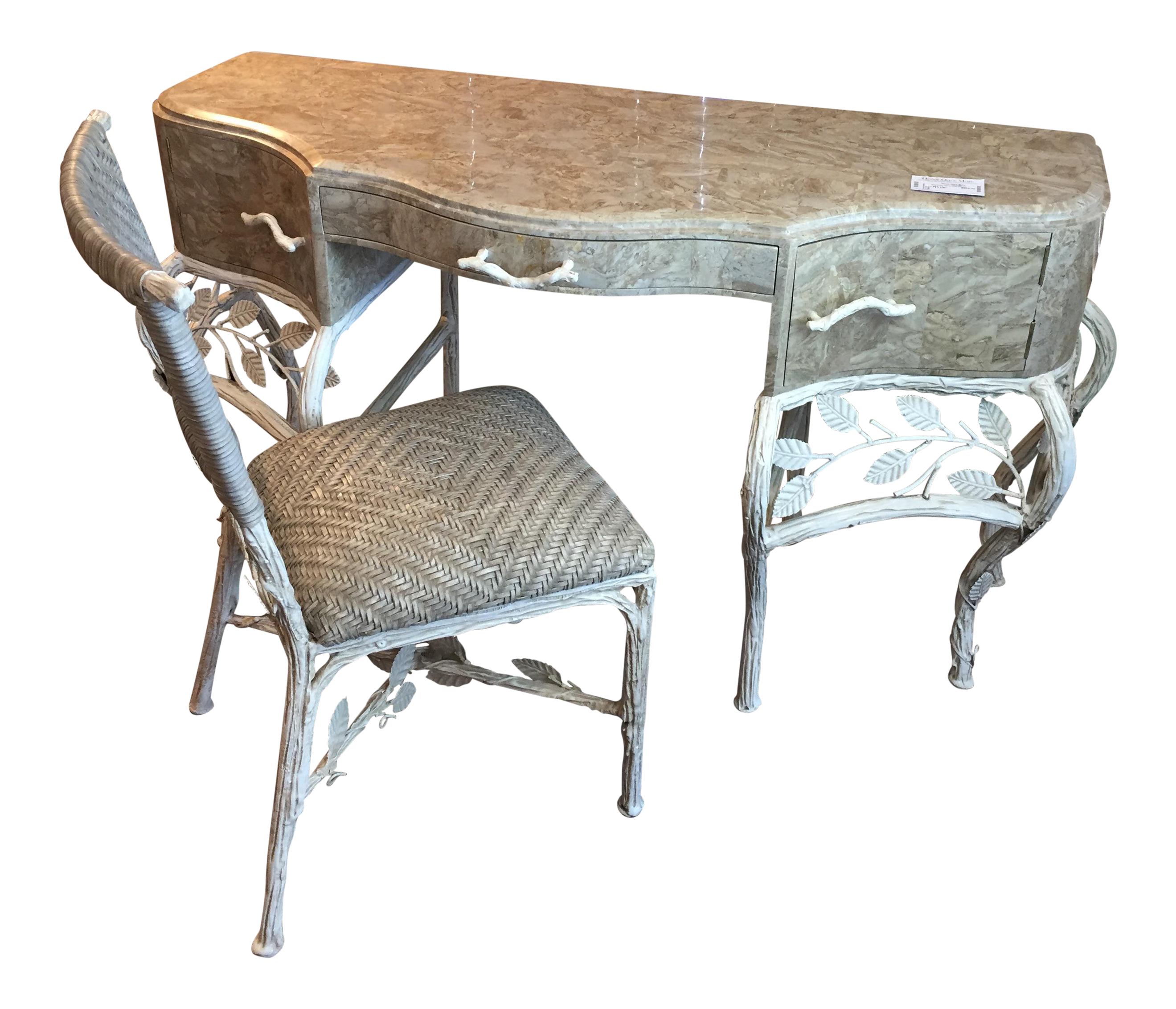 Maitland Smith Tessellated Stone Desk Amp Pair Of Chairs